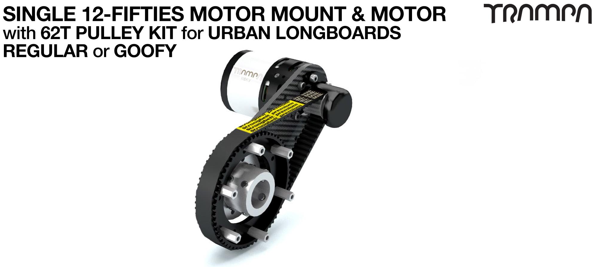 Original 12FiFties Motor Mount with 62 Tooth URBAN  Pulley Kit & Motor- SINGLE