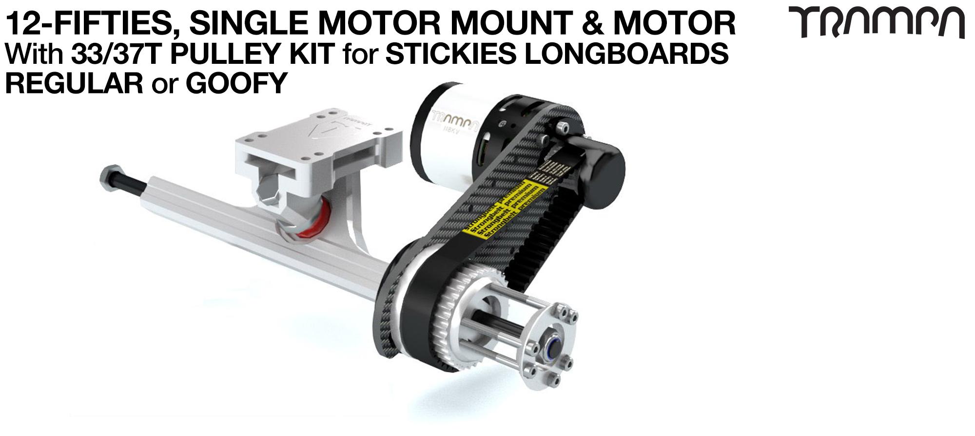 SINGLE Original 12FiFties Motor mount & 33/37 Tooth Pulley Kit with MOTOR & 2x 12FiFties Trucks