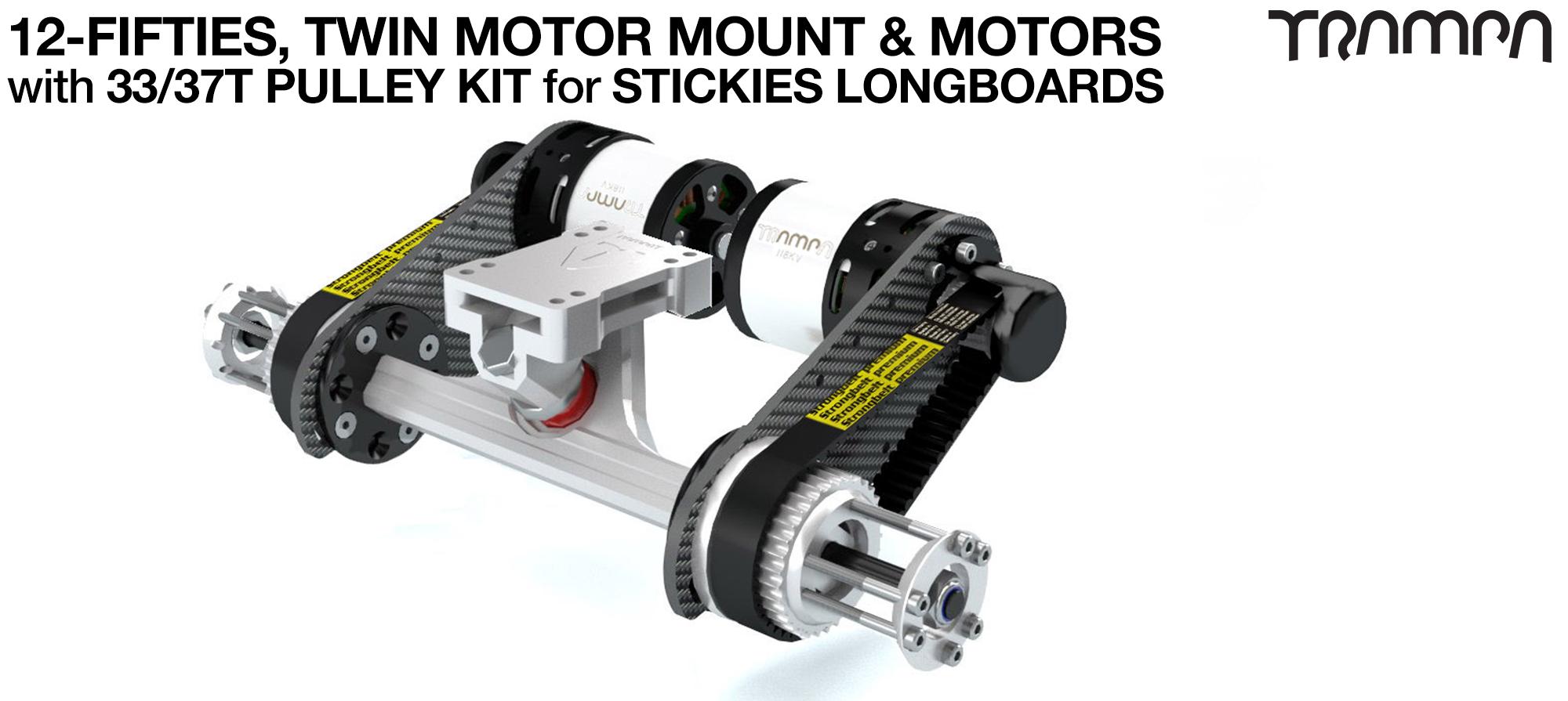 TWIN Original 12FiFties Motor mount & 33/37 Tooth Pulley Kit with MOTOR & 2x 12FiFties Trucks