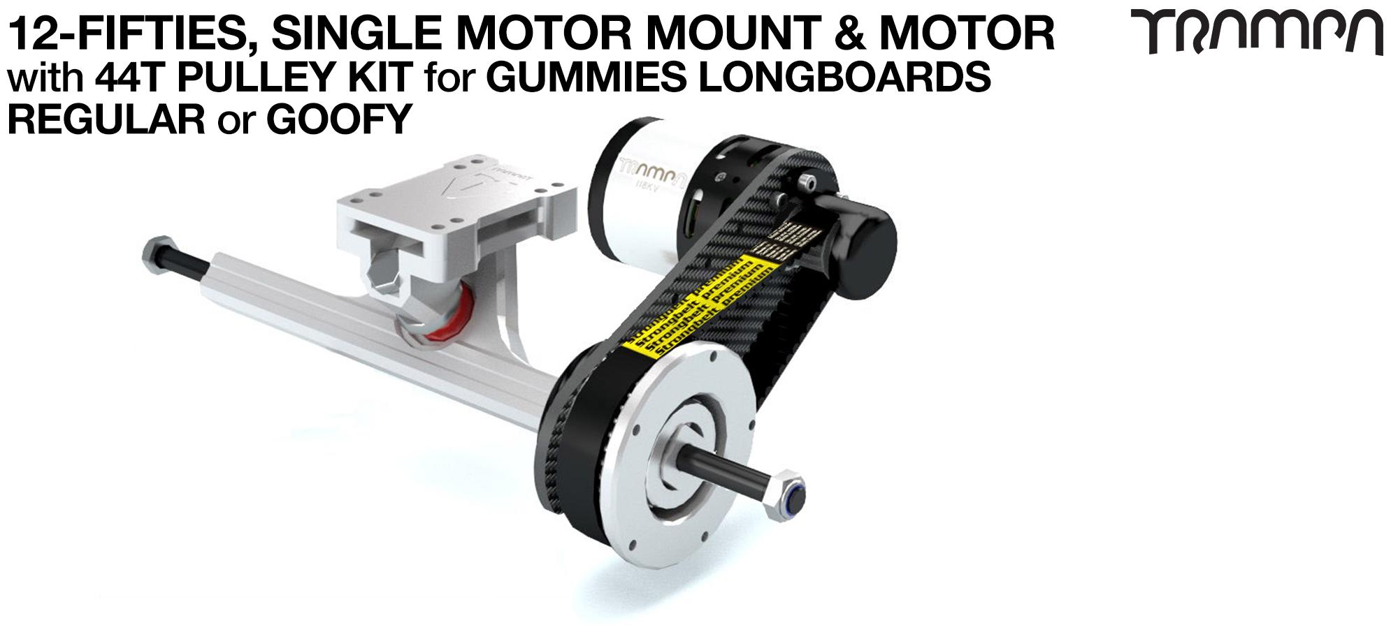 SINGLE Original 12FiFties Motor mount & 44 Tooth Pulley Kit with MOTOR & 2x 12FiFties Trucks