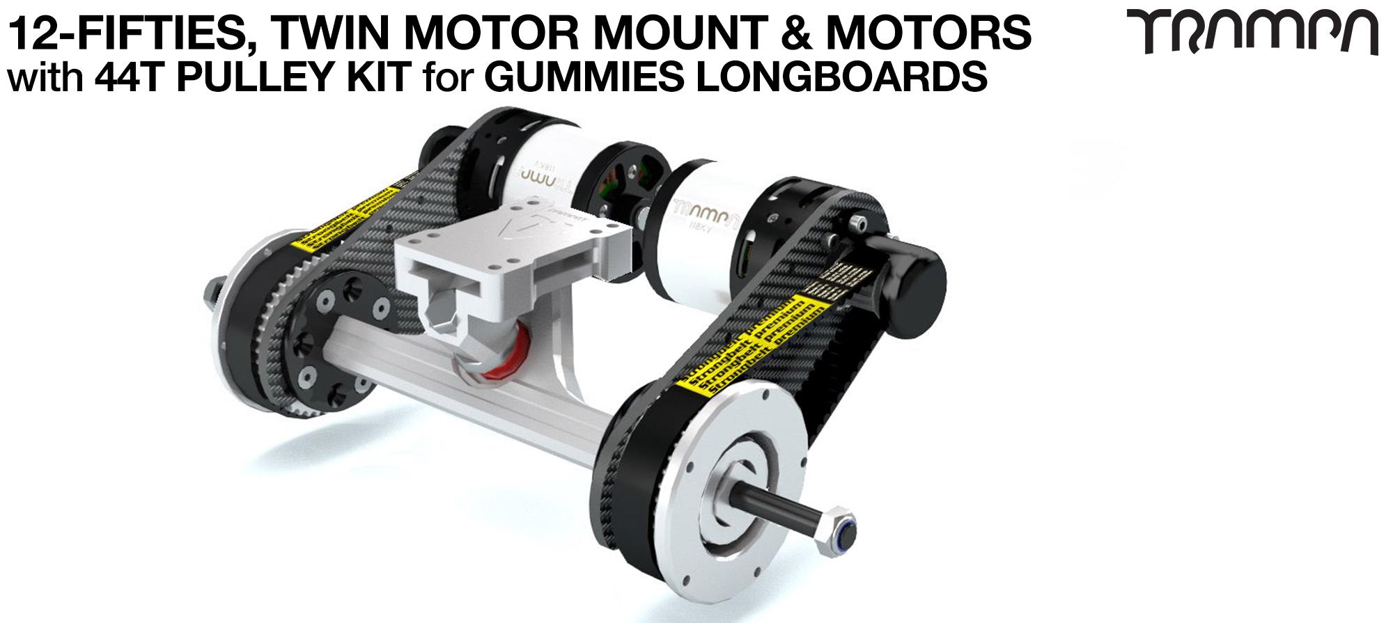 TWIN Original 12FiFties Motor mount & 44 Tooth Pulley Kit with MOTOR & 2x 12FiFties Trucks