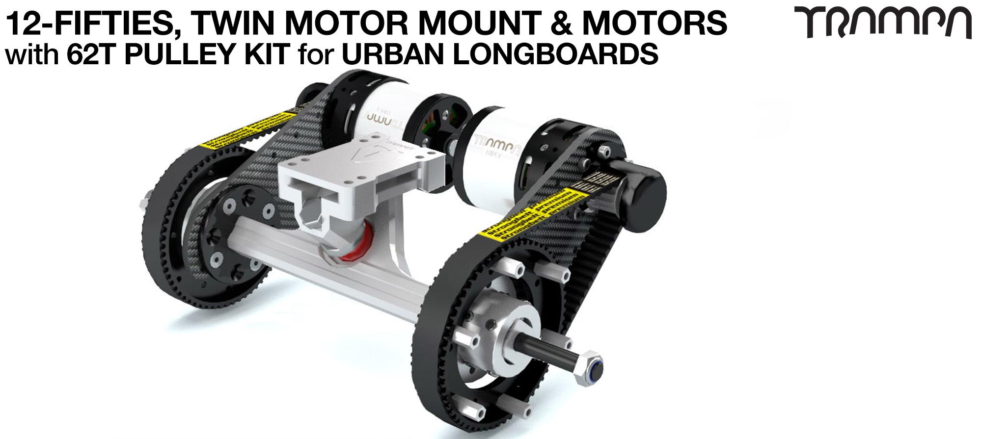 Original 12FiFties Motor Mount with 62 Tooth URBAN  Pulley Kit & Motor & 2x 12FiFties Trucks - TWIN