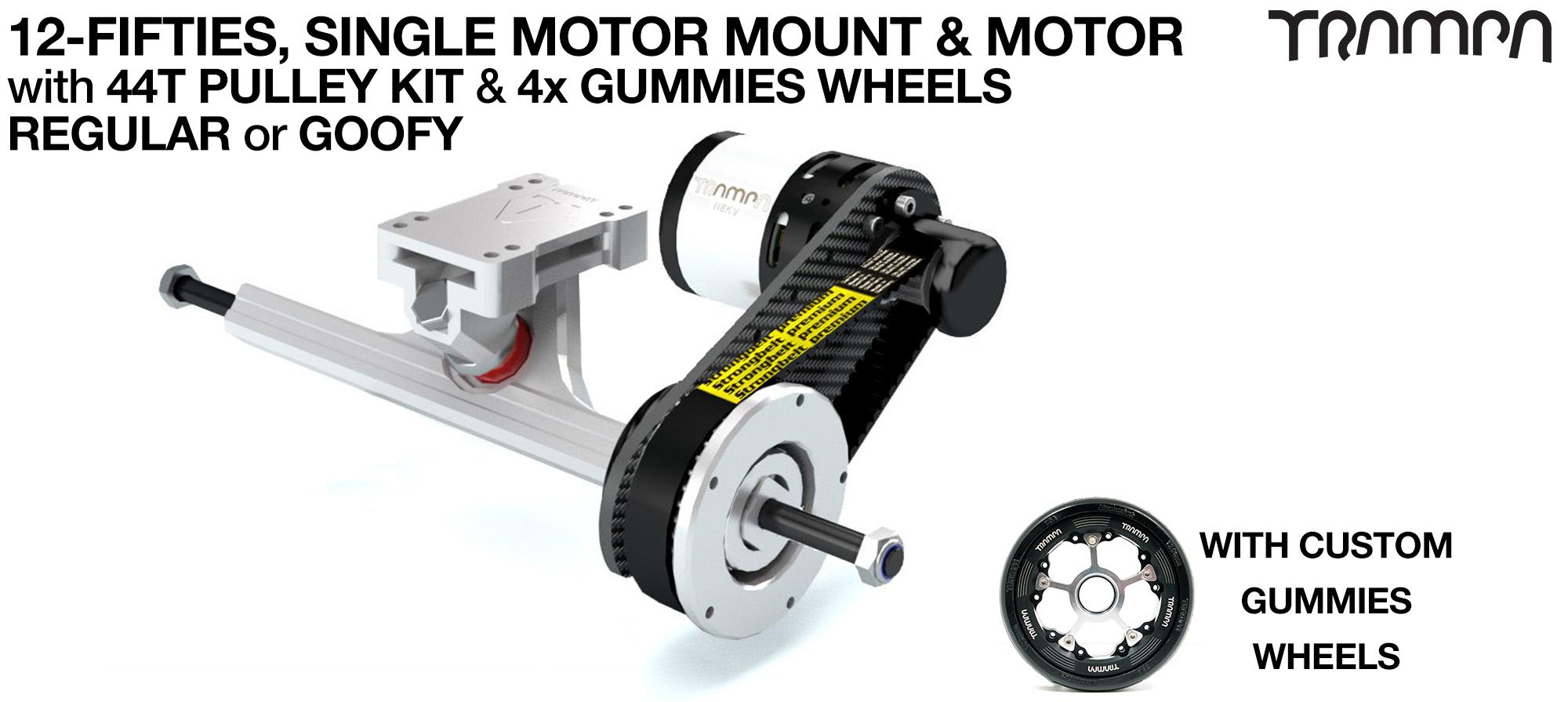 SINGLE Original 12FiFties Motor mount & 44 Tooth Pulley Kit with MOTOR & 2x 12FiFties Trucks & 4x Gummies Wheels