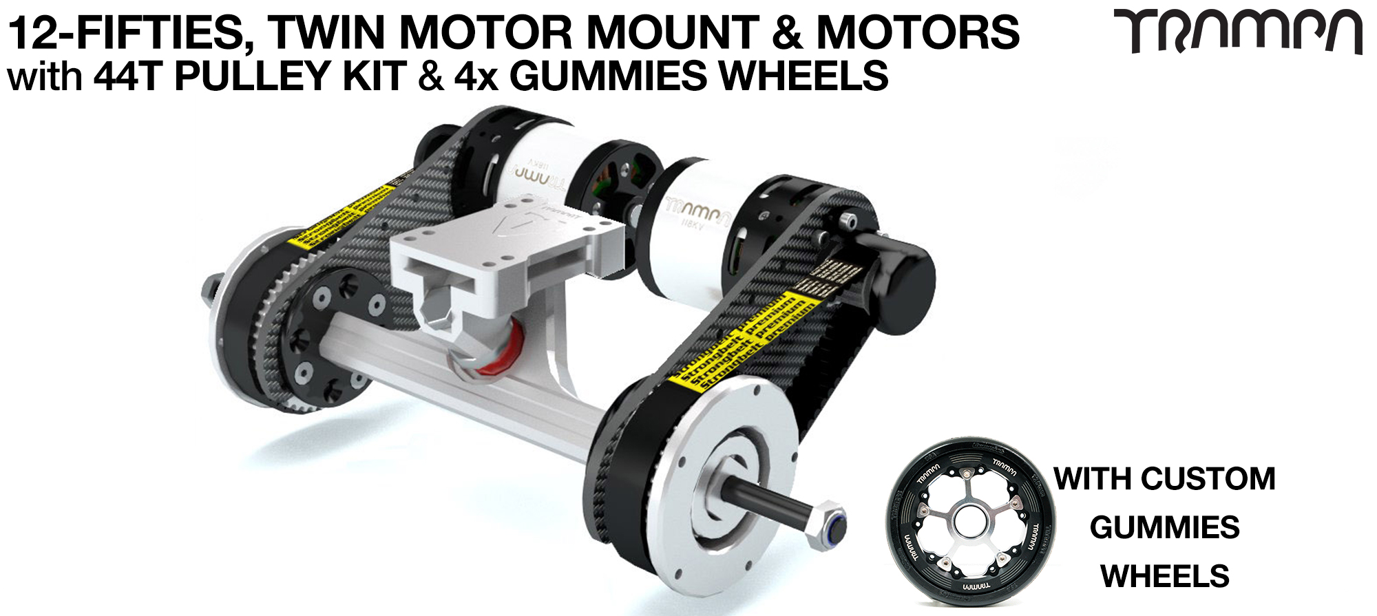 TWIN Original 12FiFties Motor mount & 44 Tooth Pulley Kit with MOTOR & 2x 12FiFties Trucks & 4x Gummies Wheels
