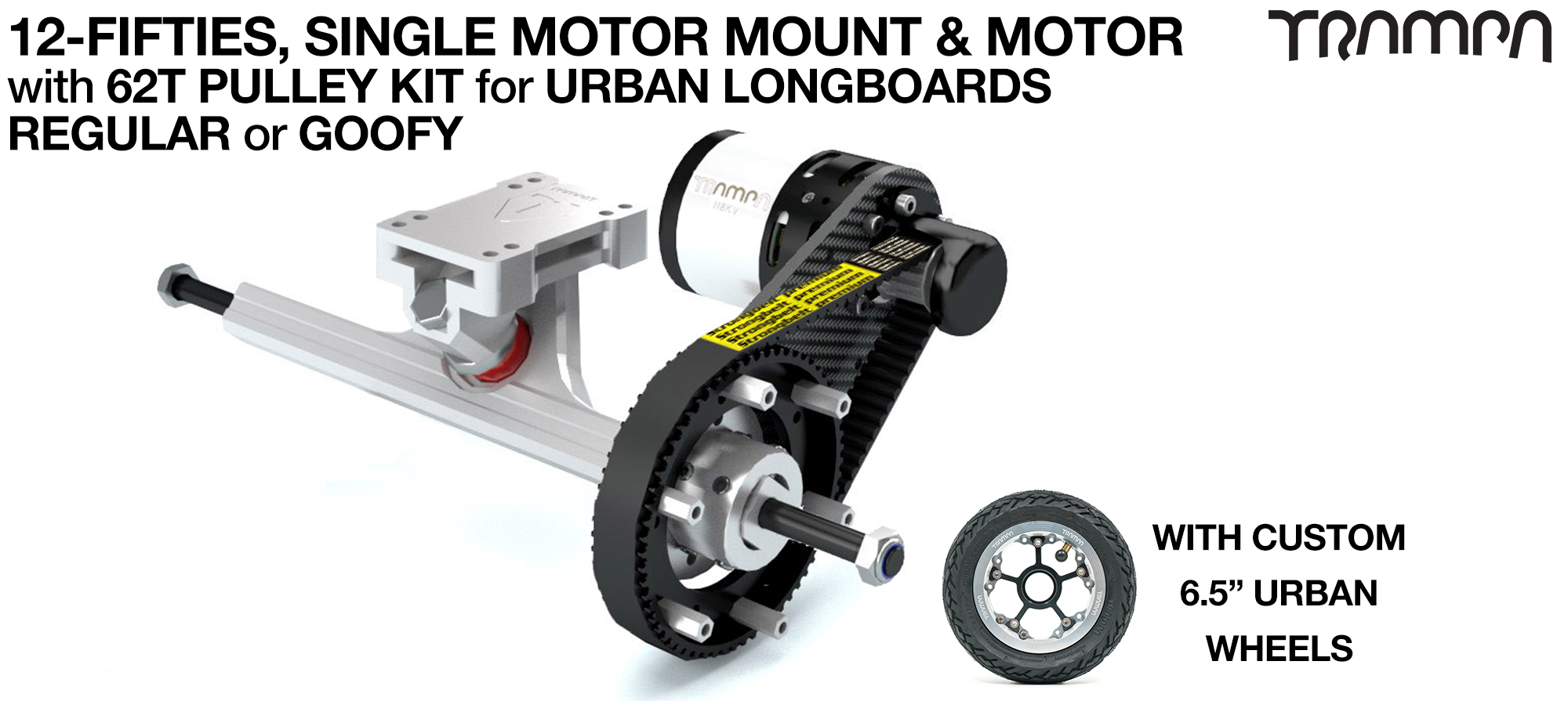 Original 12FiFties Motor Mount with 62 Tooth URBAN  Pulley Kit & Motor & 2x 12FiFties Trucks & 4x URBAN Wheels - SINGLE