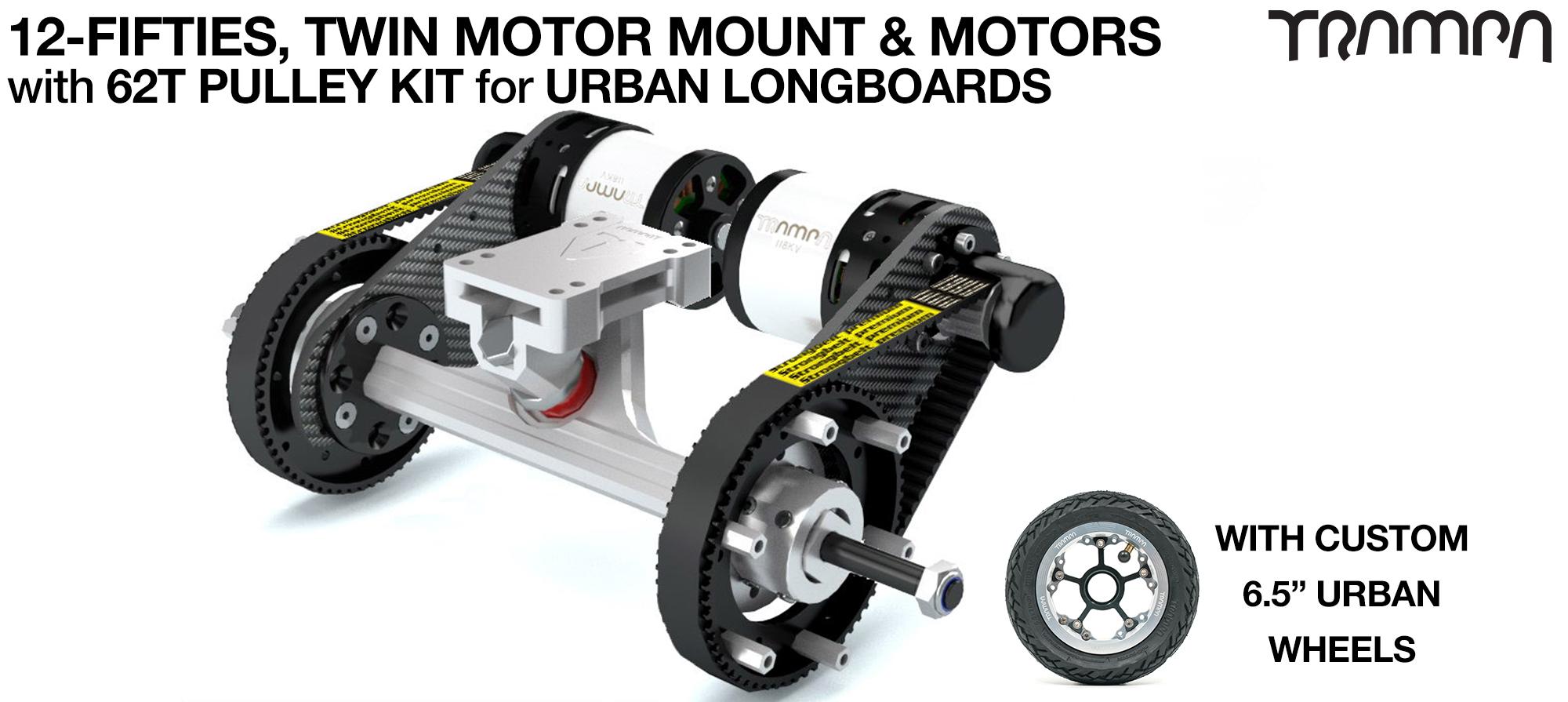 Original 12FiFties Motor Mount with 62 Tooth URBAN  Pulley Kit & Motor & 2x 12FiFties Trucks & 4x URBAN Wheels - TWIN