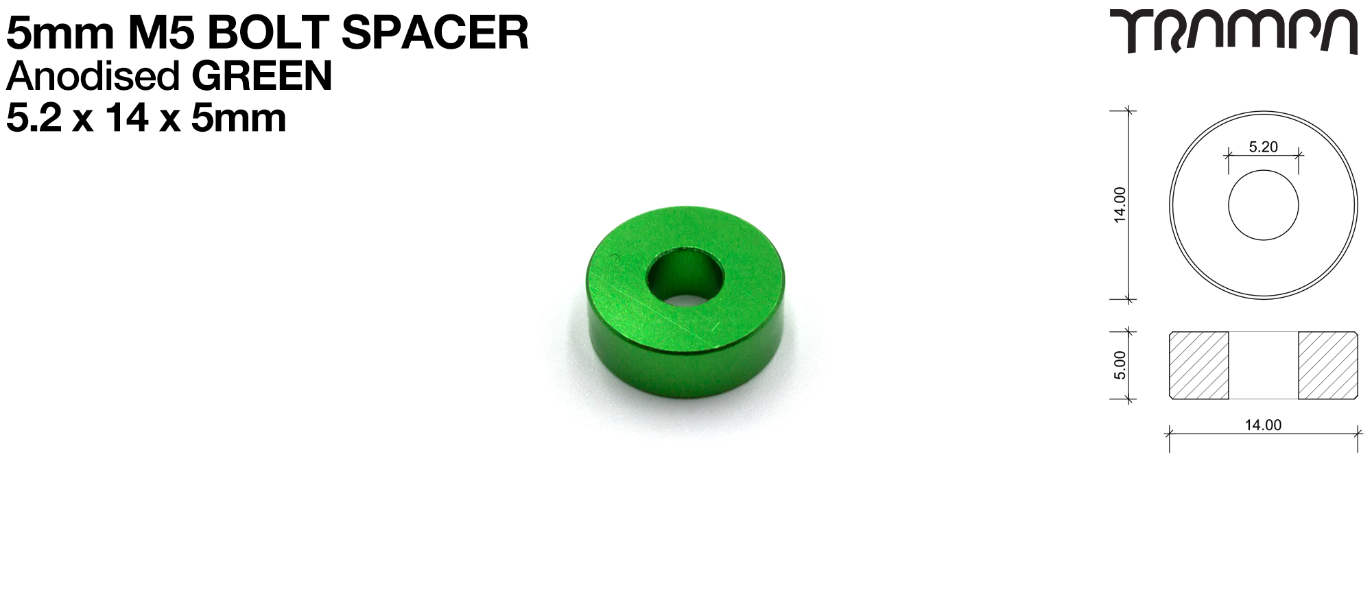 M5 5mm Spacer - GREEN