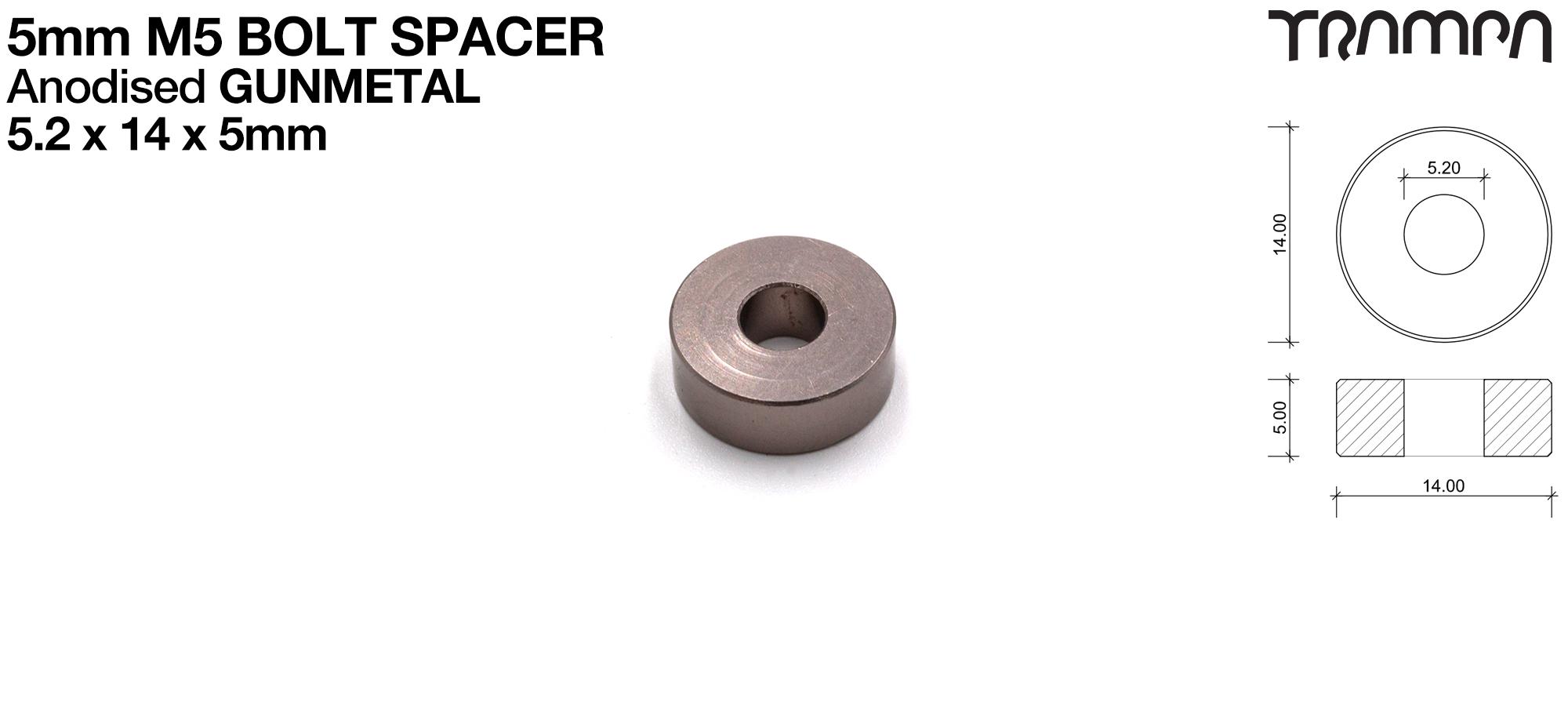 M5 5mm Spacer - GUNMETAL