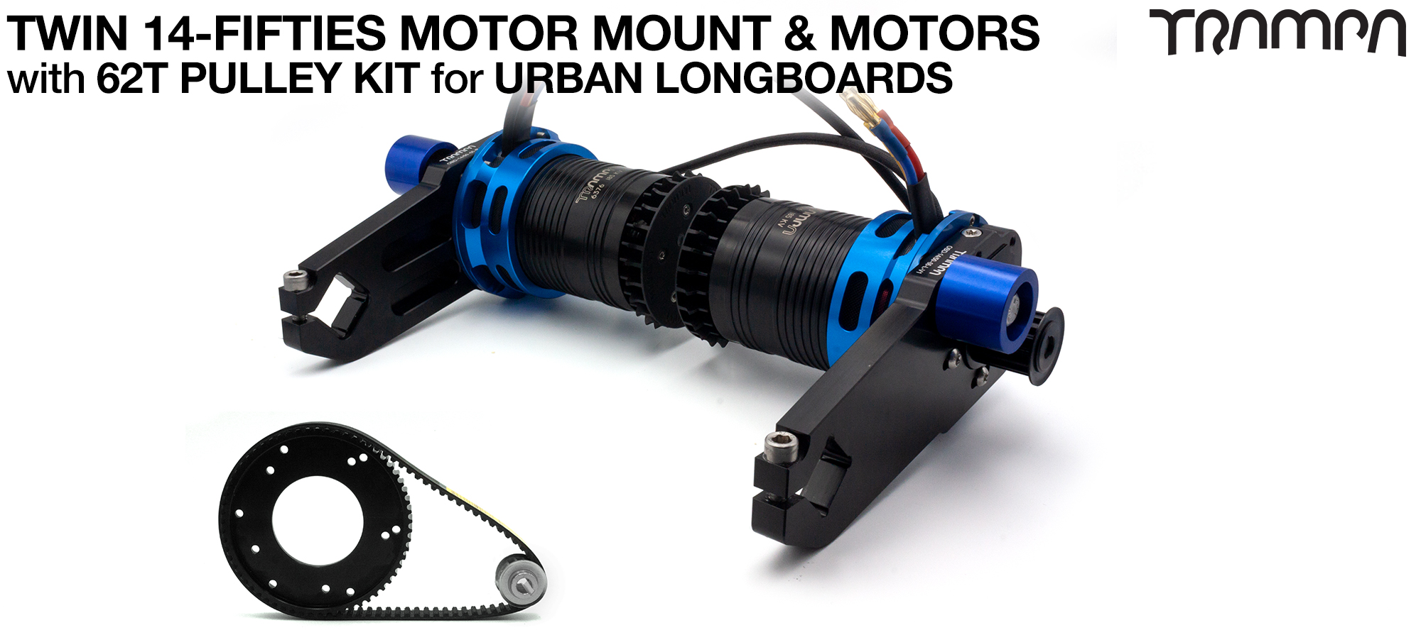 14FiFties Motor Mount with 62 Tooth URBAN  Pulley Kit & Motor- TWIN