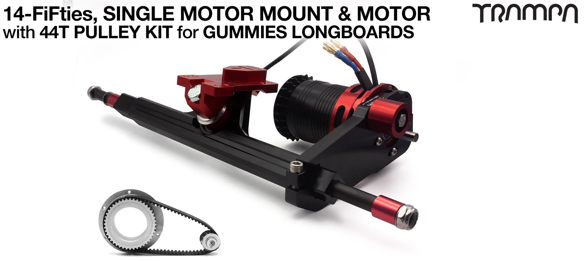 14FiFties Motor Mount with 62 Tooth URBAN  Pulley Kit & Motor & 2x 14FiFties Trucks - SINGLE