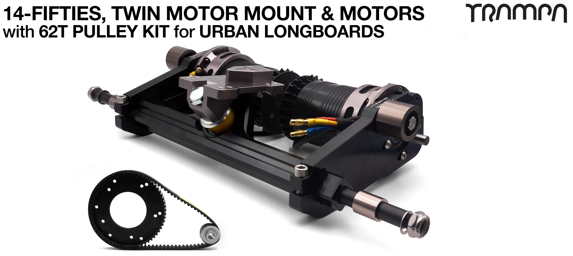 14FiFties Motor Mount with 62 Tooth URBAN  Pulley Kit & Motor & 2x 14FiFties Trucks - TWIN