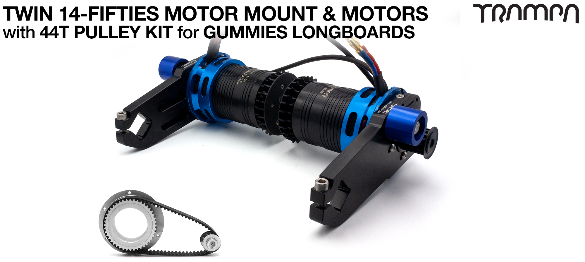 14FiFties Motor Mount with Custom Motor & 44 Tooth Pulley Kit for GUMMIES Wheels - TWIN