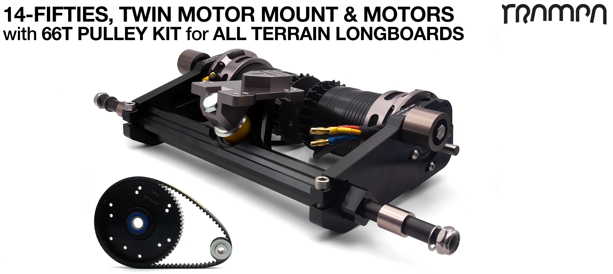 14FiFties Motor Mount with 66 Tooth URBAN  Pulley Kit & Motor & 2x 14FiFties Trucks - TWIN
