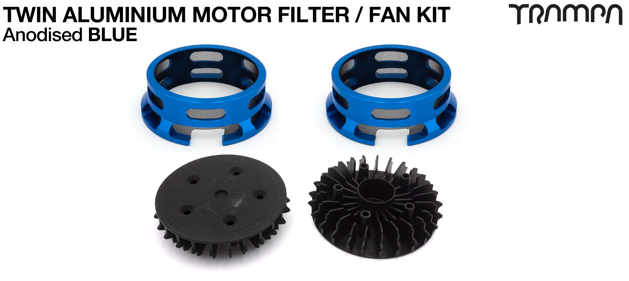 14FiFties BLACK Motor protection Housing with BLUE particle Filter & Fan - TWIN