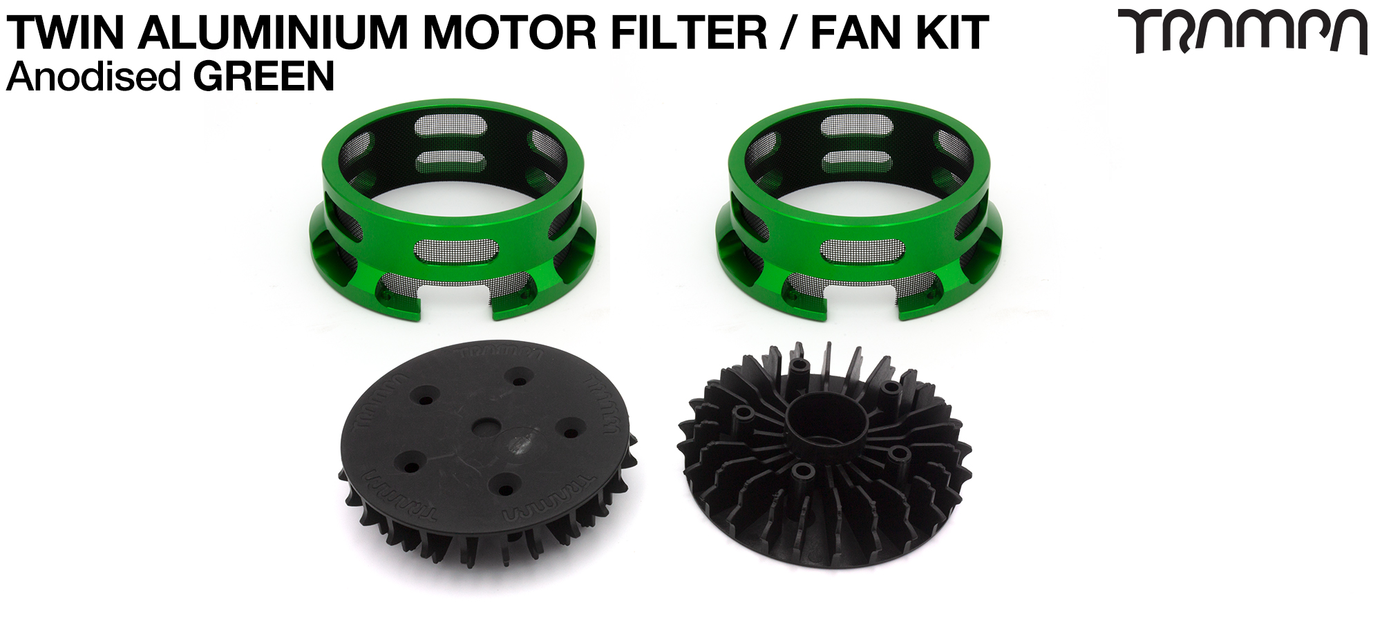 14FiFties BLACK Motor protection Housing with GREEN particle Filter & Fan - TWIN
