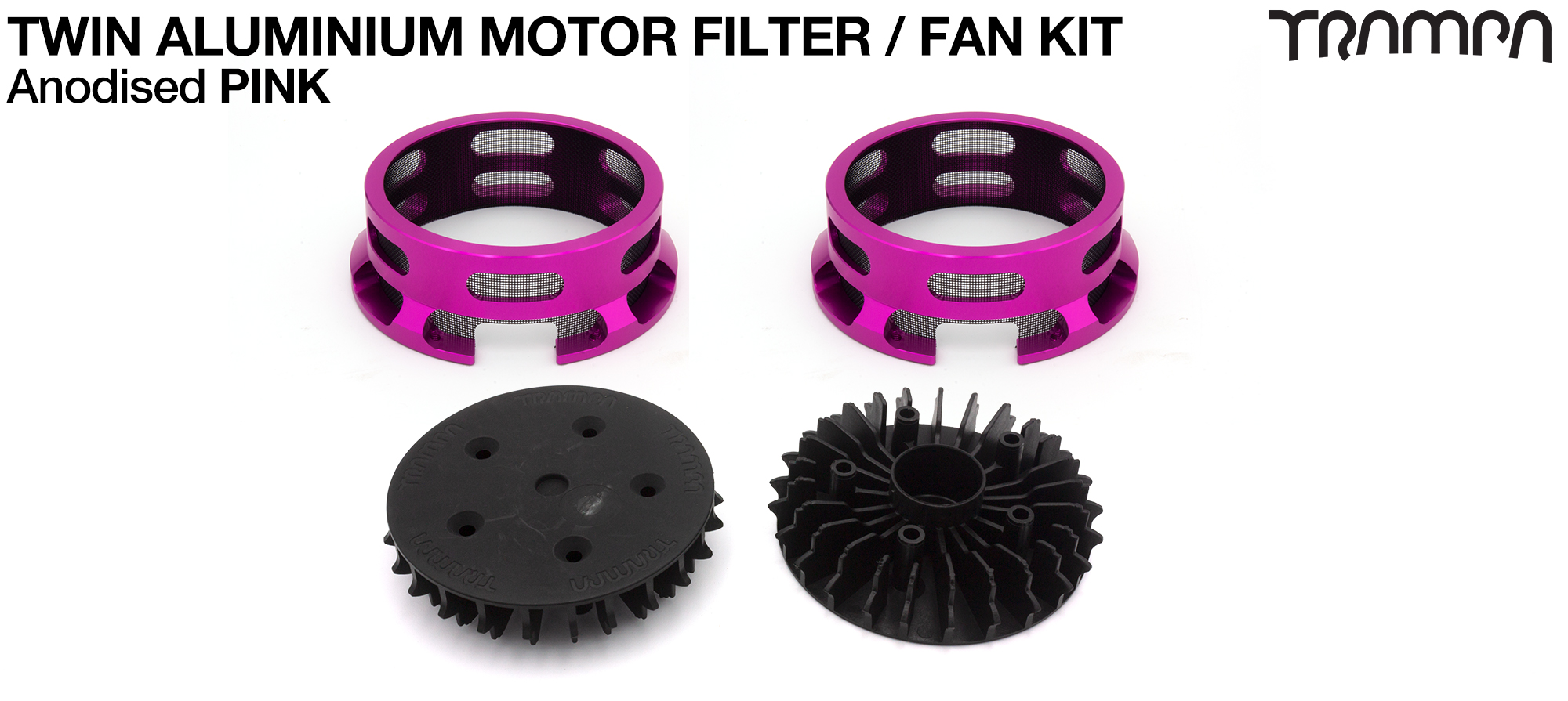 14FiFties BLACK Motor protection Housing with PINK particle Filter & Fan - TWIN