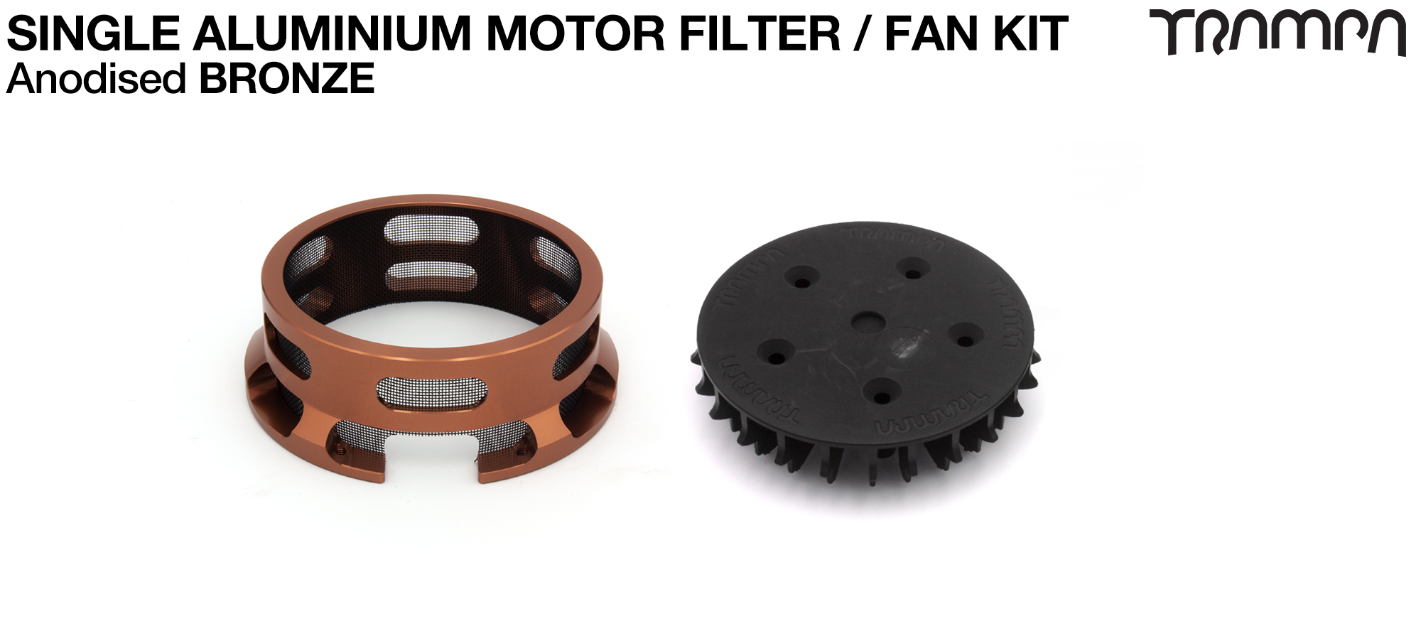 14FiFties BLACK Motor protection Housing with BRONZE particle Filter & Fan - SINGLE