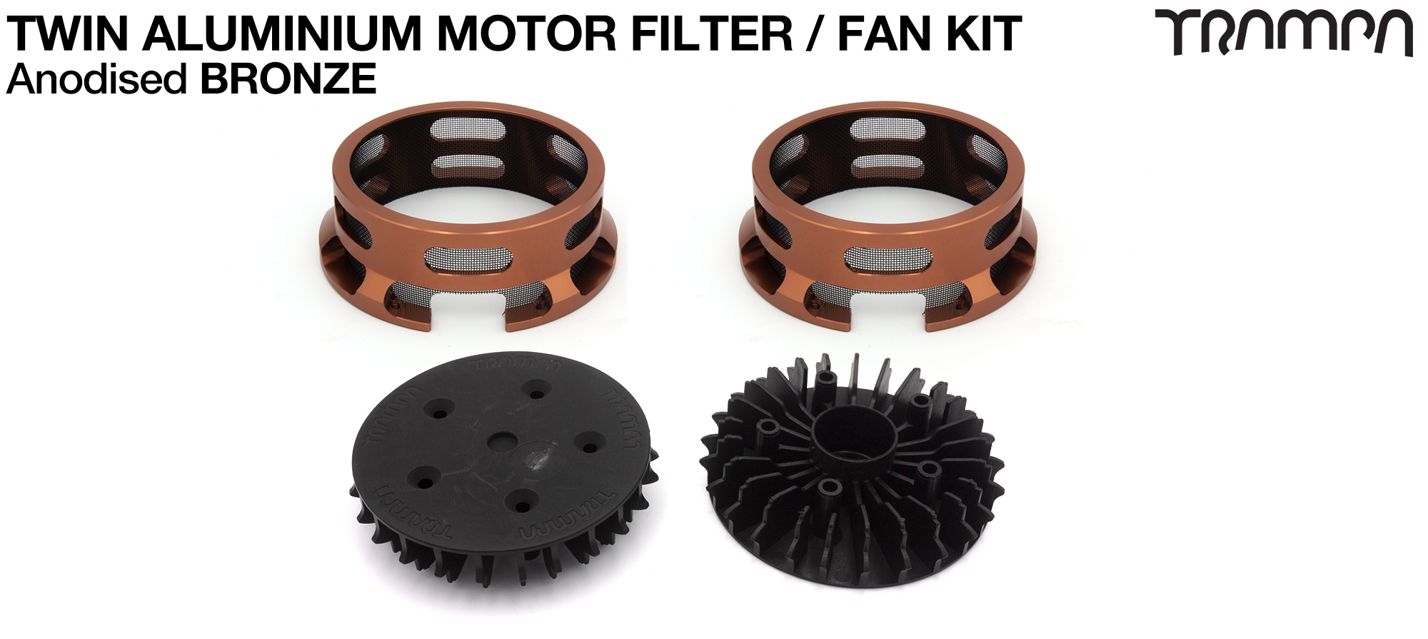 14FiFties BLACK Motor protection Housing with BRONZE particle Filter & Fan - TWIN