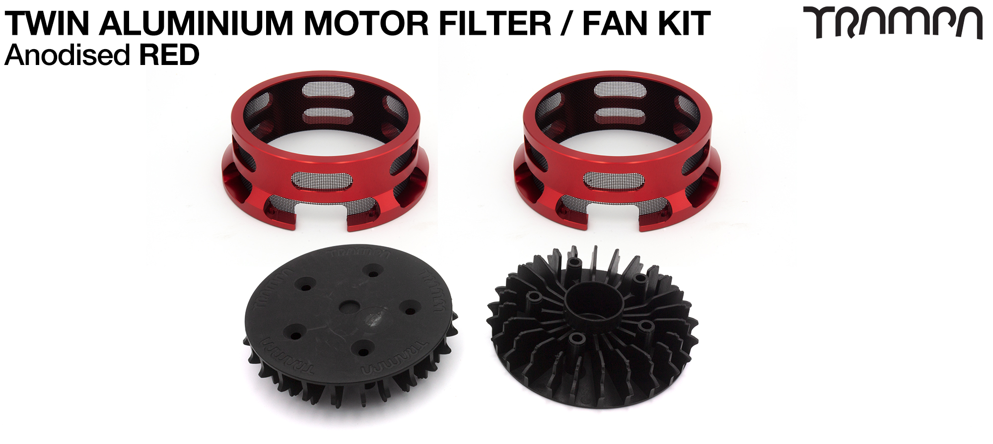 14FiFties BLACK Motor protection Housing with RED particle Filter & Fan - TWIN