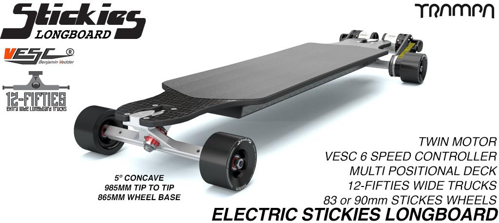 TRAMPA's ORRSOM Electric Longboard with STICKIES Longboard wheels TWIN MOTOR - FULLY LOADED