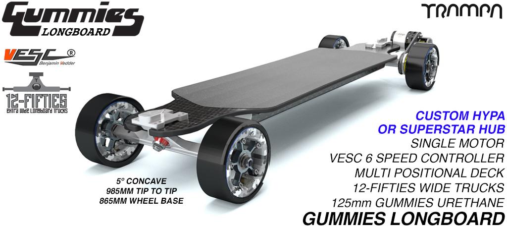 TRAMPA's ORRSOM Electric Longboard with GUMMIES 125mm Longboard Tyres SINGLE Motor - FULLY LOAED