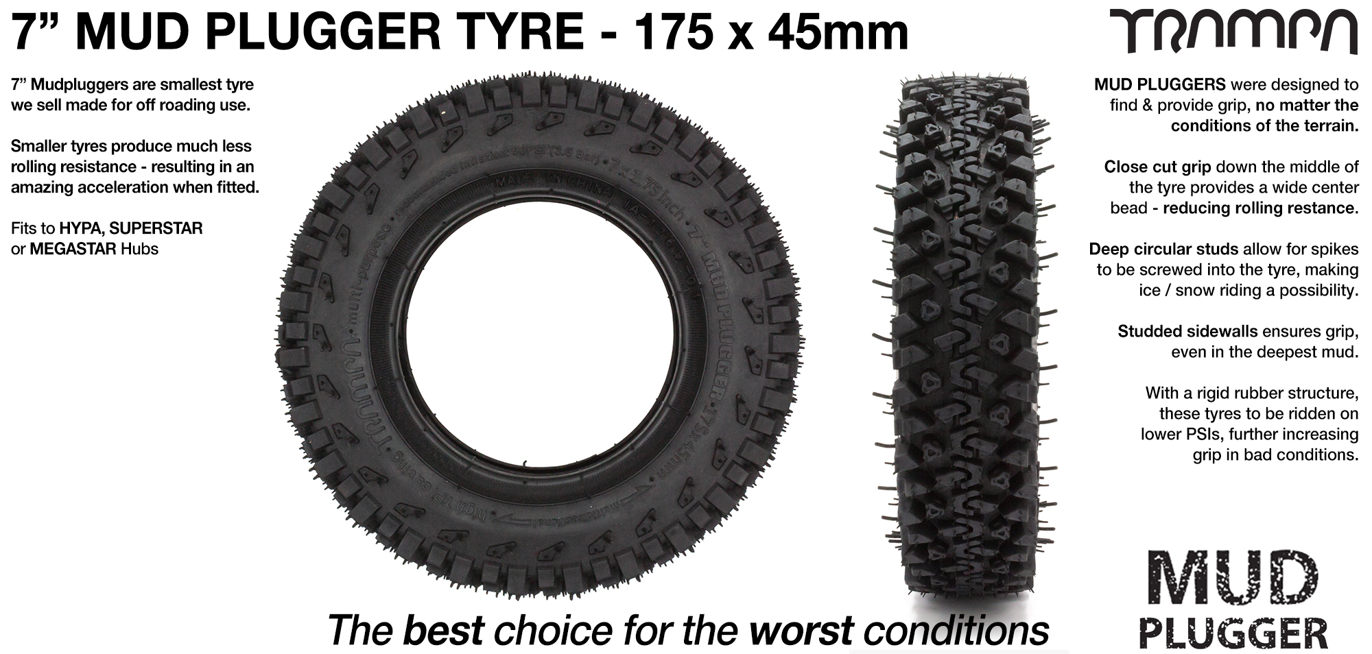 TRAMPA MUD-PLUGGER 7 Inch Tyre 3.75x 2x 7 Inch