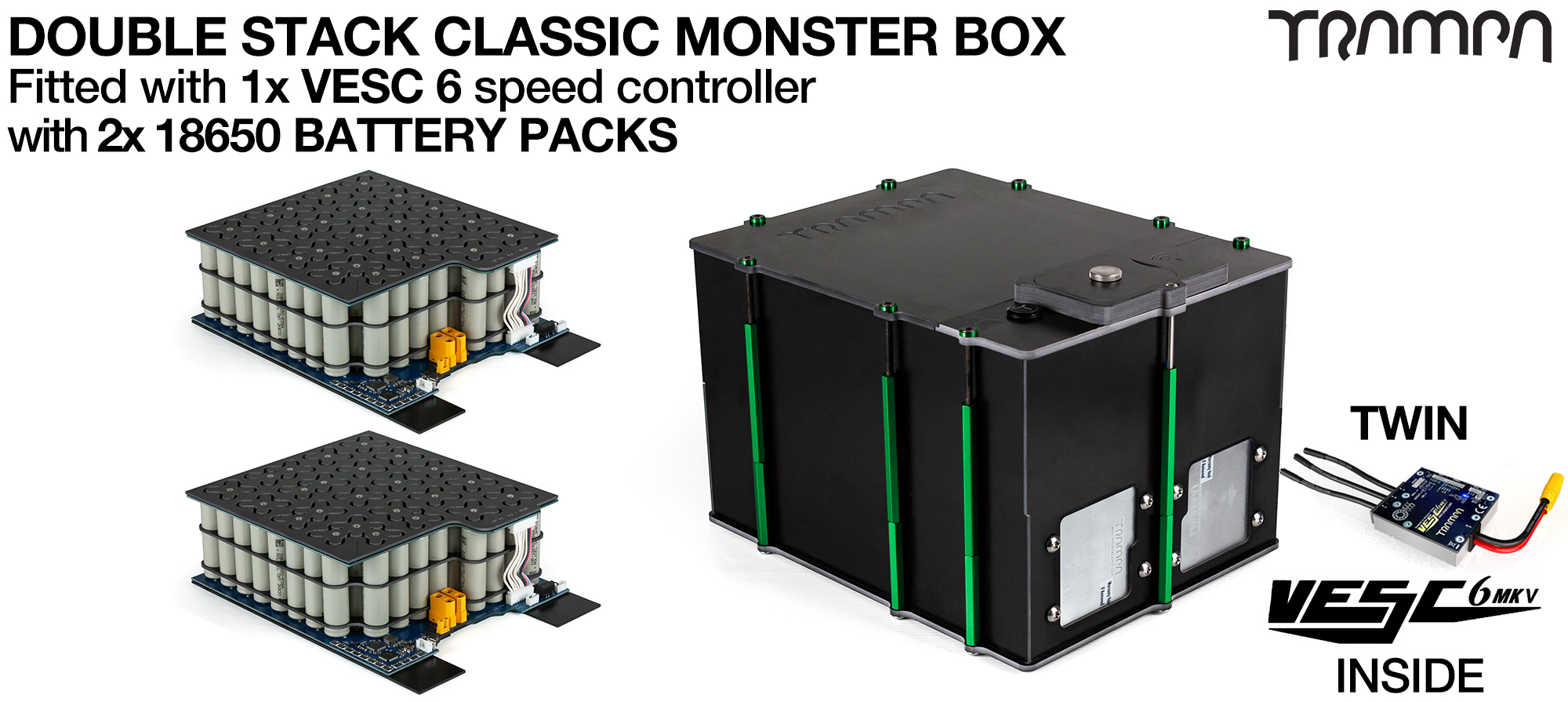 Classic MONSTER Box MkV DOUBLE STACKER - with 18650 PCB Pack, 2x VESC 6 with NRF & 84x 18650 cells 12s7p 21Ah - PCB based Battery Pack with Integrated Battery Management System (BMS) - UK CUSTOMERS ONLY