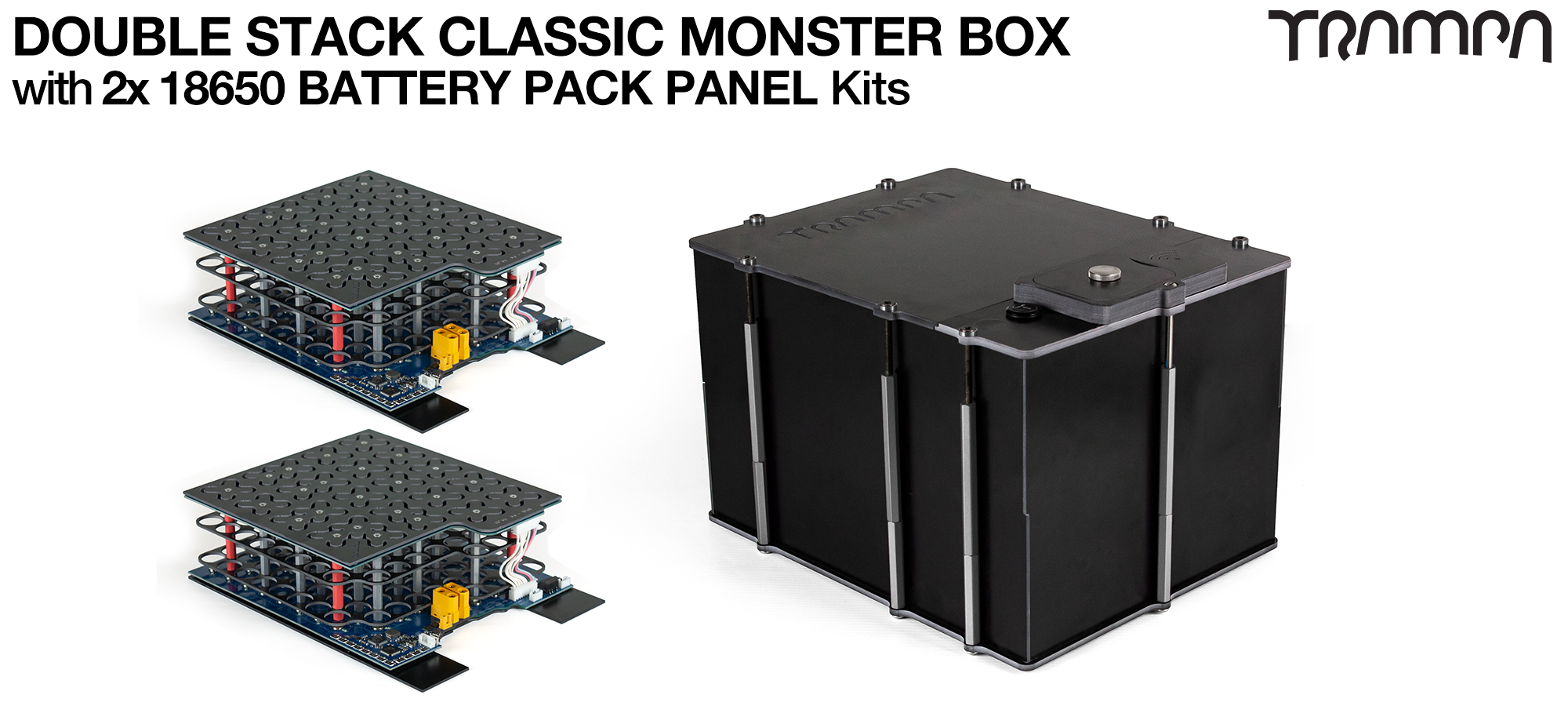 Classic MONSTER Box MkV DOUBLE STACKER supplied with a 18650 PCB based Battery Pack with Integrated Battery Management System (BMS) - NO VESC & NO Cells
