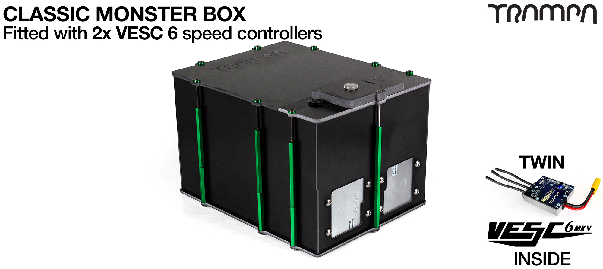 Classic MONSTER Box MkV DOUBLE STACKER supplied with 2x VESC 6 & 1x Externaly Mounted NRF VESC Connect Dongle & Cable  Fitted