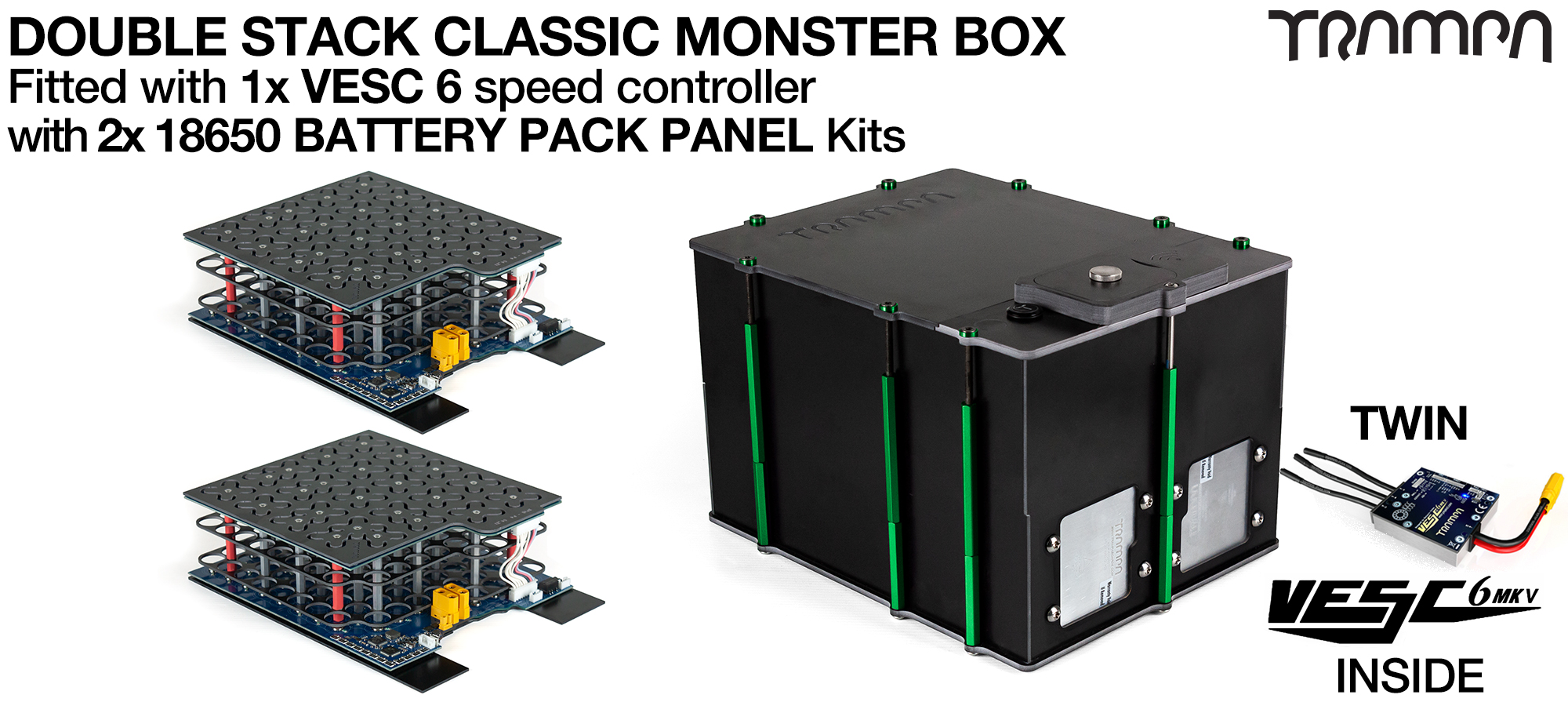 Classic MONSTER Box MkV DOUBLE STACKER - with 18650 PCB Pack & 2x VESC 6 NRF PCB based Battery Pack with Integrated Battery Management System (BMS)  - NO CELLS