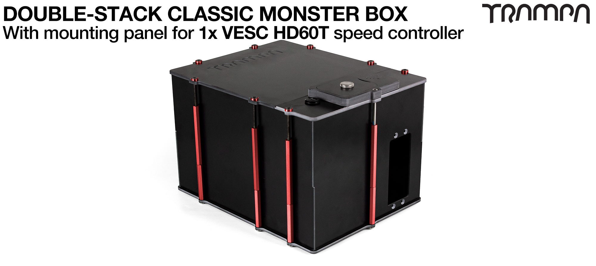 Classic MONSTER Box MkV DOUBLE STACKER fits 168x 18650 cells to give 42Ah Range or 2x 22000Ah Li-Po cells to give 44Ah Range & has Panels to fit 1x VESC HD-60T internally.
