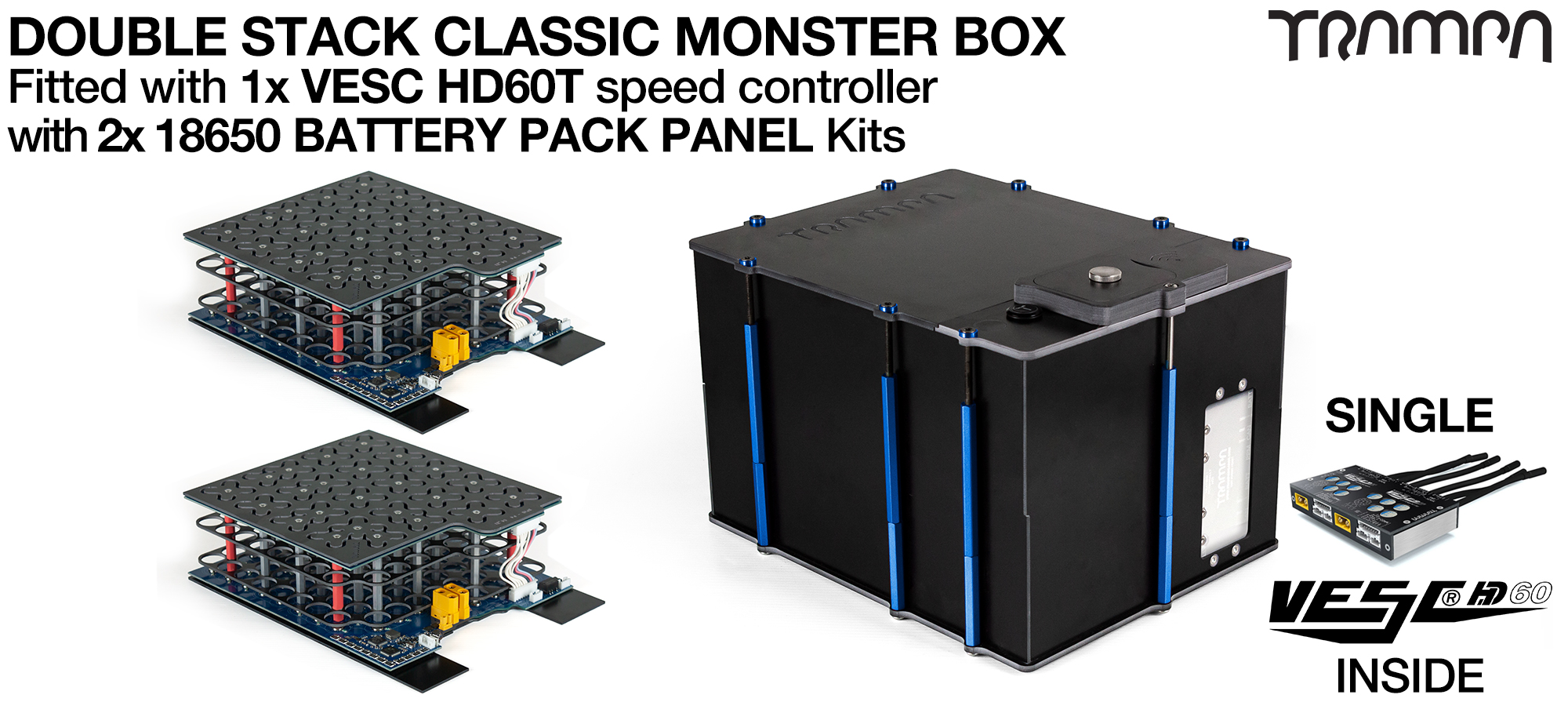 Classic MONSTER Box MkV DOUBLE STACKER - with 18650 PCB Pack & VESC HD-60 Twin - NO CELLS PCB based Battery Pack with Integrated Battery Management System (BMS) - NO Cells