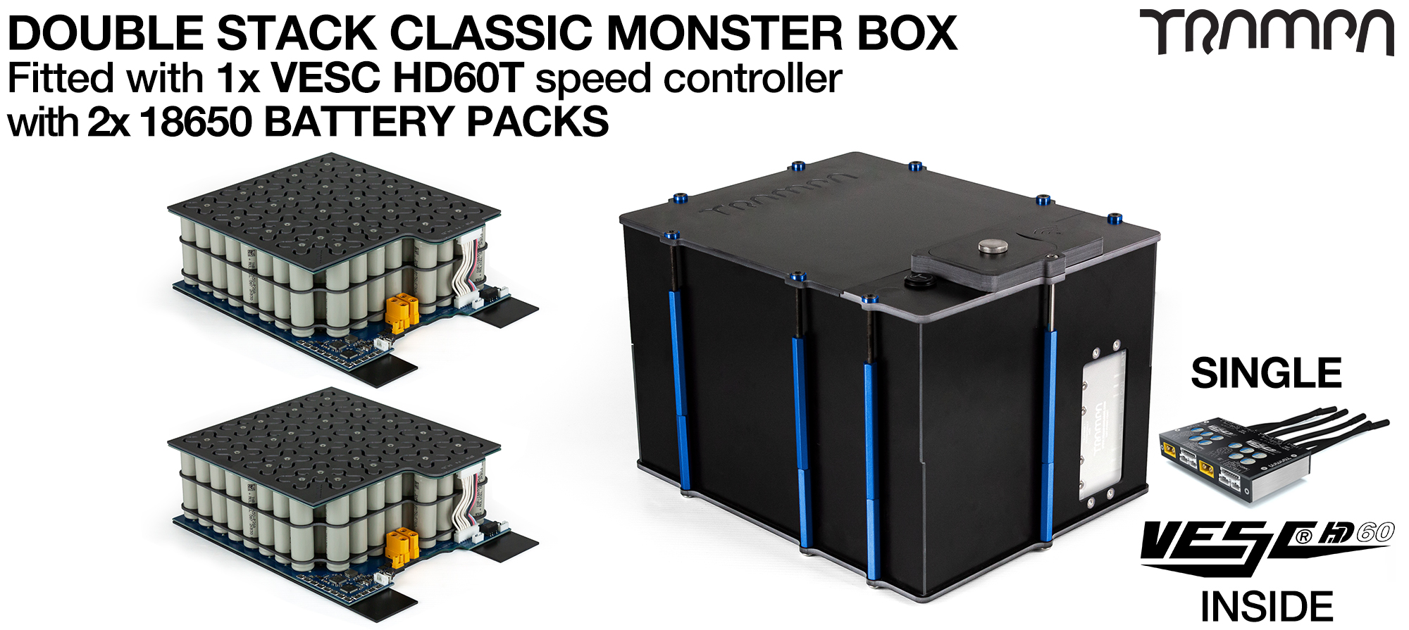 Classic MONSTER Box MkV DOUBLE STACKER - with 18650 PCB Pack, 1x VESC HD-60Twin & 84x 18650 cells 12s7p 21Ah - PCB based Battery Pack with Integrated Battery Management System (BMS) - UK CUSTOMERS ONLY