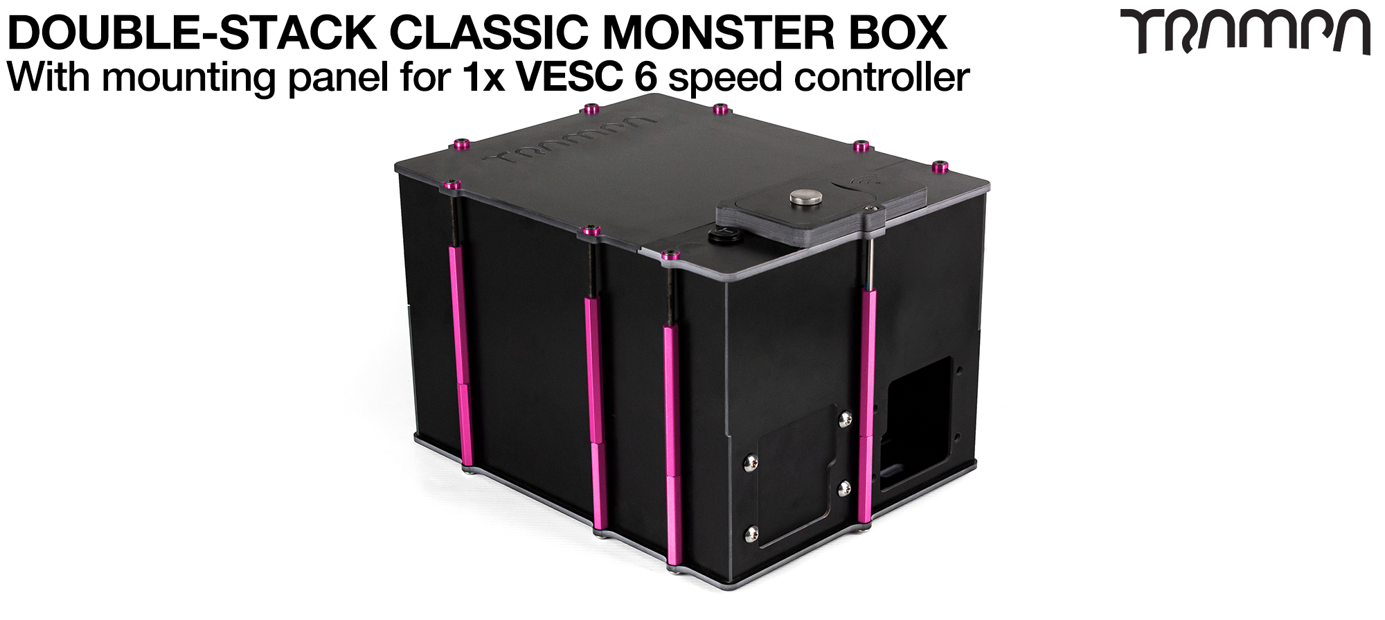 Classic MONSTER Box MkV DOUBLE STACKER fits 168x 18650 cells to give 12s14p 42A or 4x22000 mAh Li-Po Cells to give 44mAh & has Panels to fit 1x VESC 6 Internally.