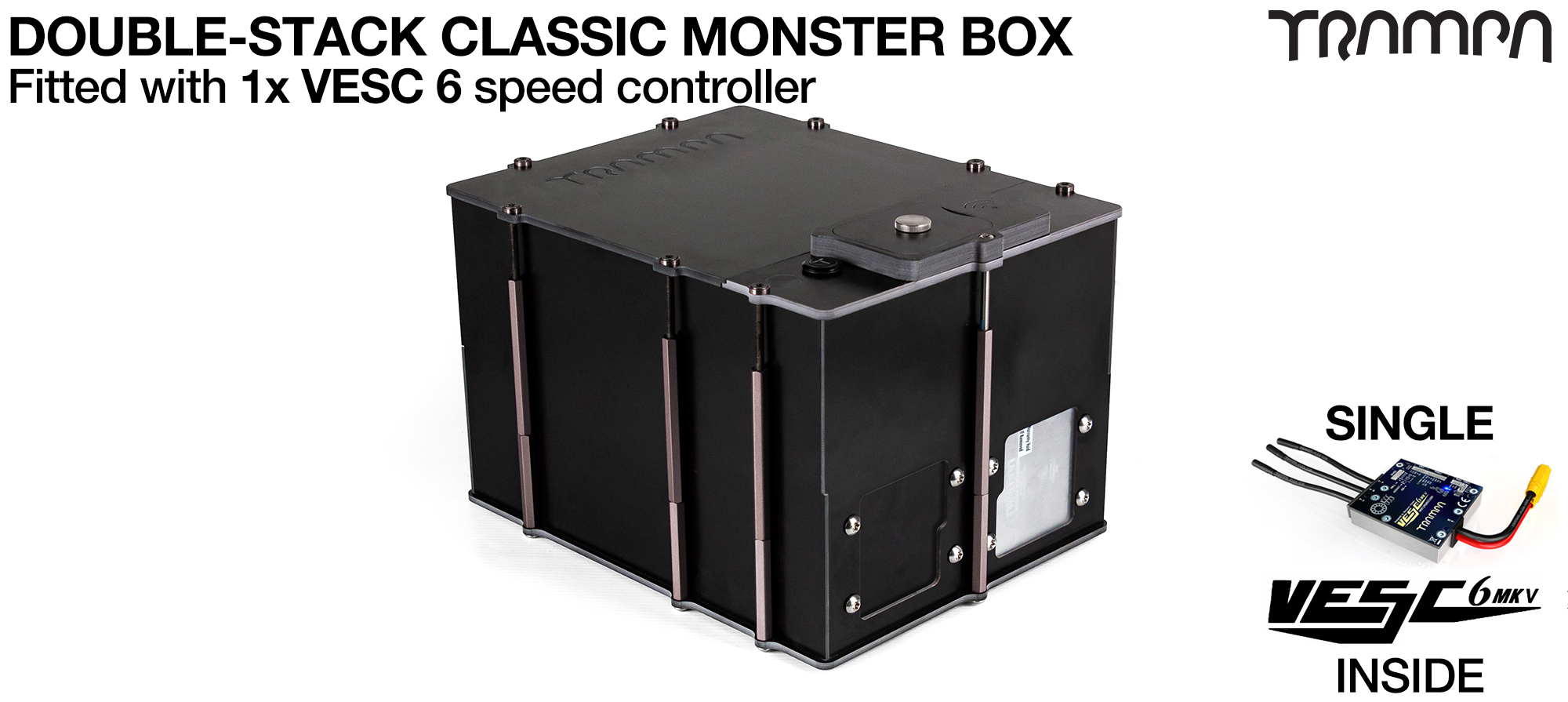 Classic MONSTER Box MkV DOUBLE STACKER supplied with 1x VESC 6 & 1x Externaly Mounted NRF VESC Connect Dongle & Cable