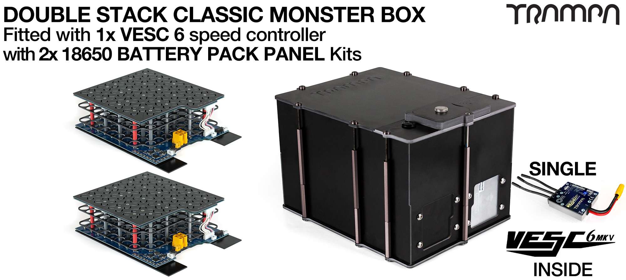 Classic MONSTER Box MkV DOUBLE STACKER - with 18650 PCB Pack & 1x VESC 6 NRF fitted PCB based Battery Pack has Integrated Battery Management System (BMS) - NO Cells