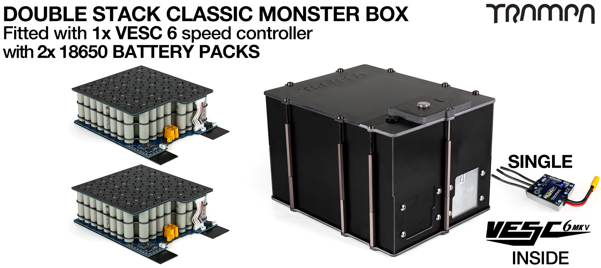 Classic MONSTER Box MkV DOUBLE STACKER - with 18650 PCB Pack, 1x VESC 6 with NRF & 84x 18650 cells 12s7p 21Ah - PCB based Battery Pack with Integrated Battery Management System (BMS) - UK CUSTOMERS ONLY