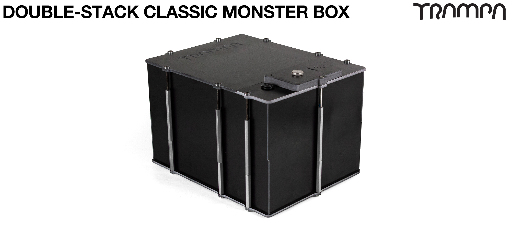 Classic MONSTER Box MkV DOUBLE STACKER - with NO VESC MOUNTING Panel fits 84x 18650 cells to give 12s7p 21A or 2x22000 mAh Lipos & has Panels to fit any of the TRAMPA VESC Speed controllers,