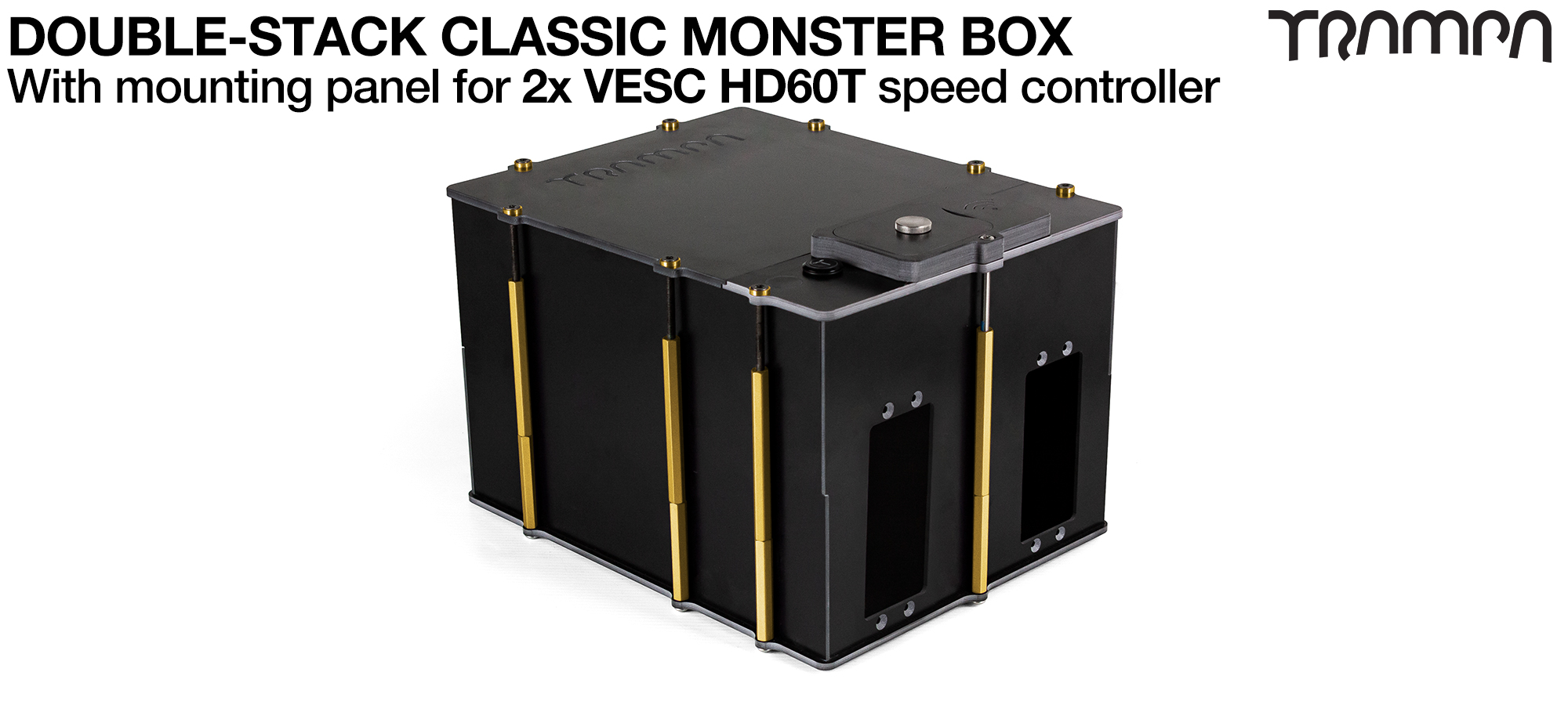 Classic MONSTER Box MkV DOUBLE STACKER fits 168x 18650 cells to give 42Ah Range or 4x 22000Ah Li-Po cells to give 44Ah Range & has Panels to fit 2x VESC HD-60T internally for 4WD