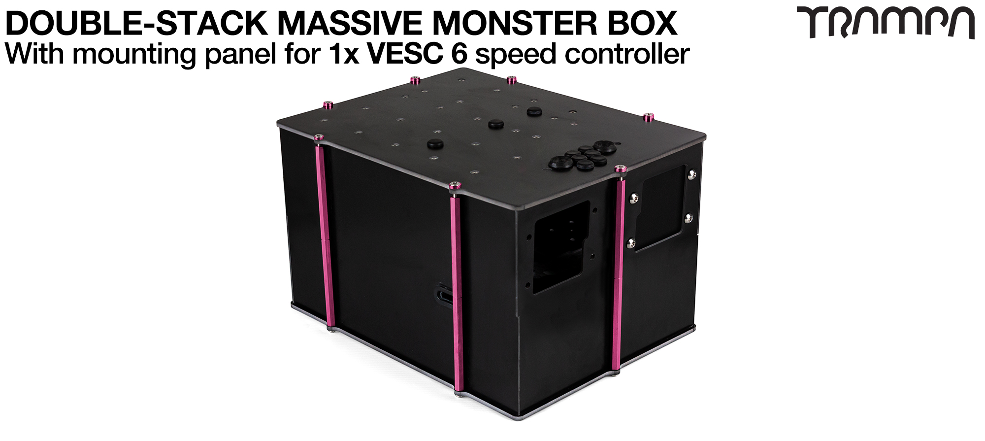 1WD DOUBLE STACK MASSIVE MONSTER Box with 1x VESC 6 Mounting Panel for 1WD