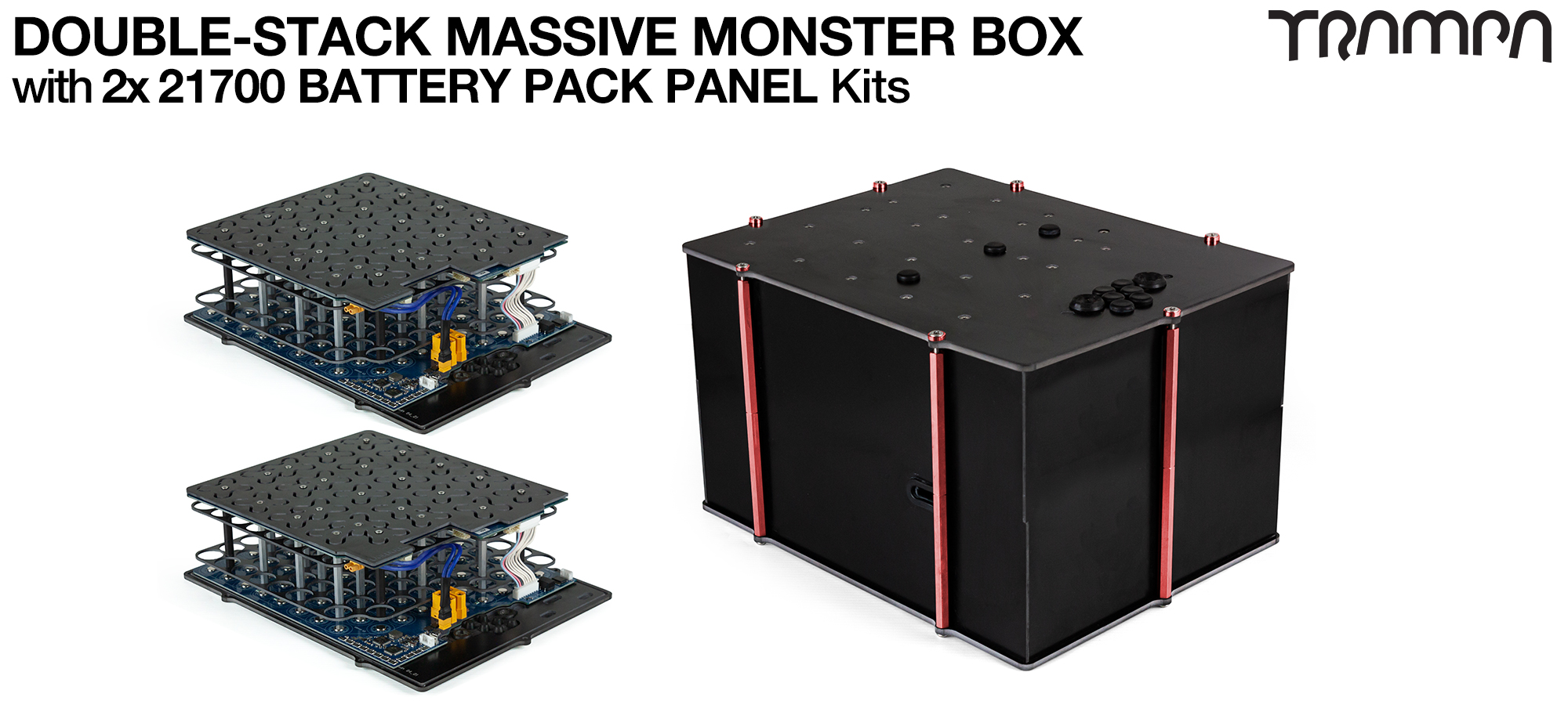 2WD DOUBLE STACK MASSIVE MONSTER Box with 21700 PCB Pack - NO VESC & NO CELLS