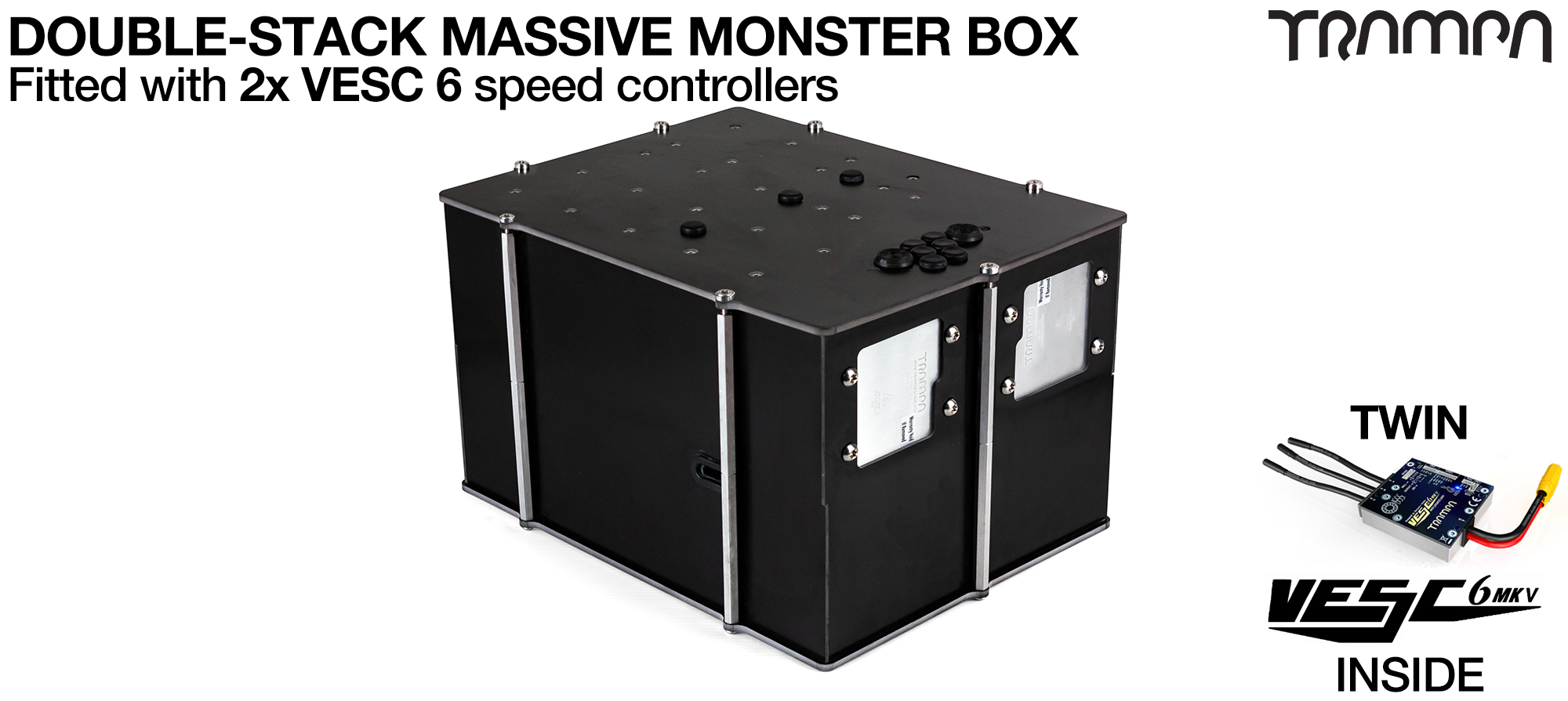 2WD DOUBLE STACK MASSIVE MONSTER Box with 2x VESC 6 & NRF Fitted