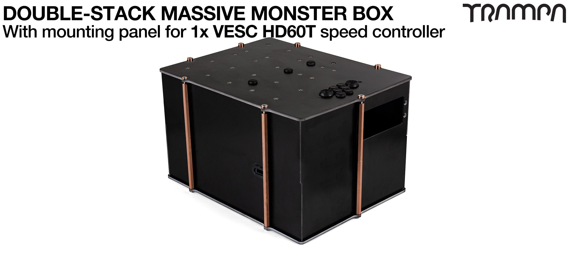 2WD DOUBLE STACK MASSIVE MONSTER Box with 1x VESC HD-60Twin Mounting Panel