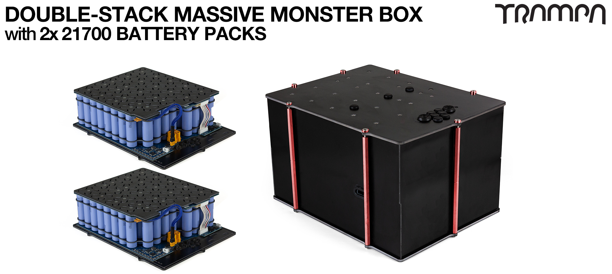1WD DOUBLE STACK MASSIVE MONSTER Box with 21700 PCB Pack with 168x 21700 cells 12s7p 70Ah NO VESC - UK Customers only