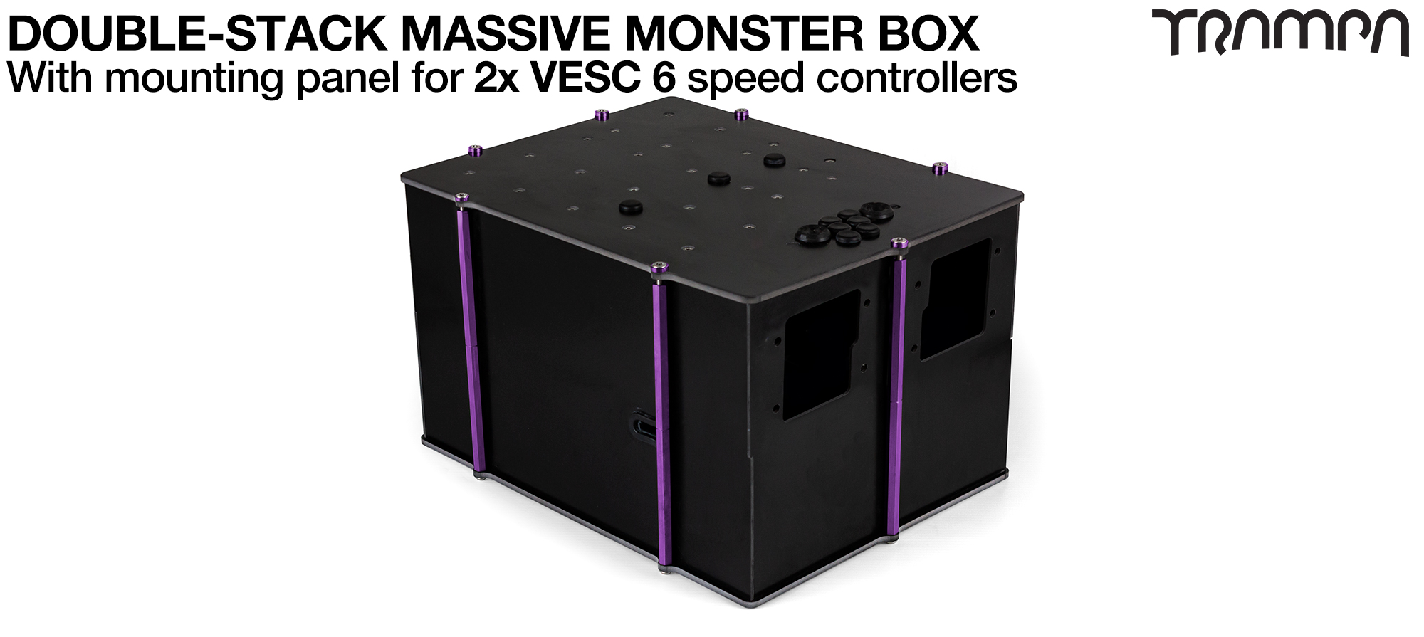 2WD DOUBLE STACK MASSIVE MONSTER Box with 2x VESC 6 Mounting Panel