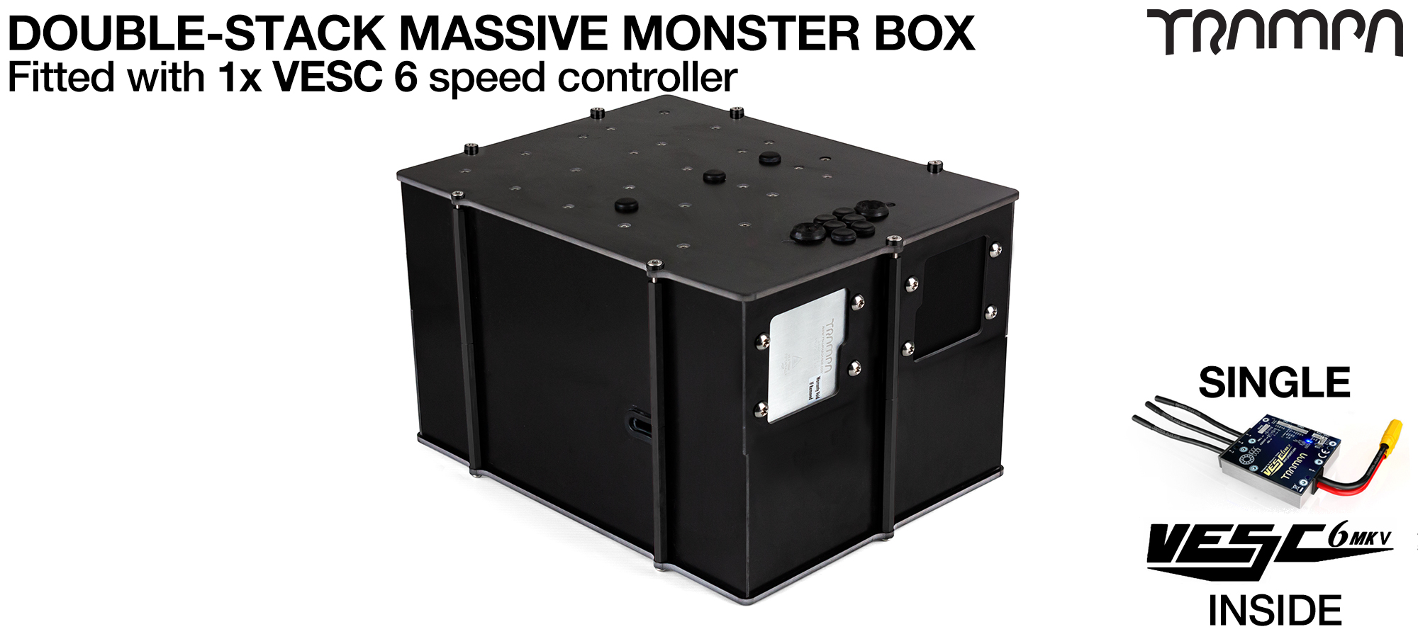 1WD DOUBLE STACK MASSIVE MONSTER Box with 1x VESC 6 & NRF Fitted
