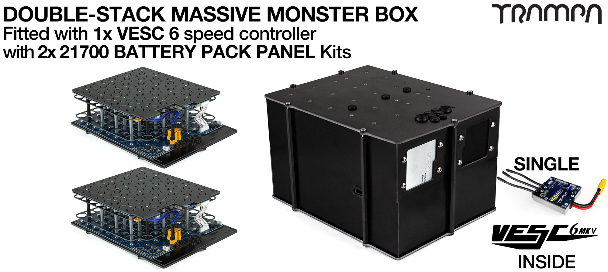 1WD DOUBLE STACK MASSIVE MONSTER Box with 21700 PCB Pack with 1x VESC 6 - NO CELLS
