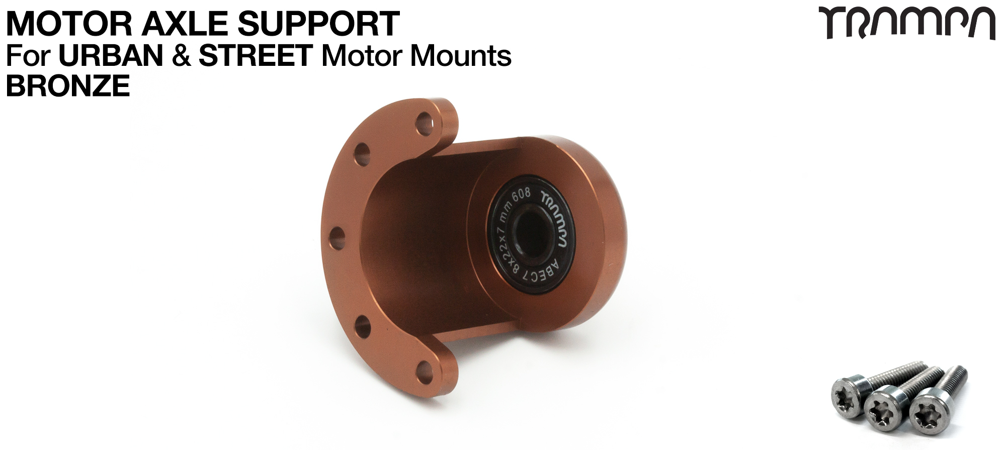 Motor Axle Support Housing with TRAMPA R608 8x22x7mm Bearing, C-Clip & Stainless Steel fixing Bolts for ORRSOM Longboard Motor Mounts  - BRONZE