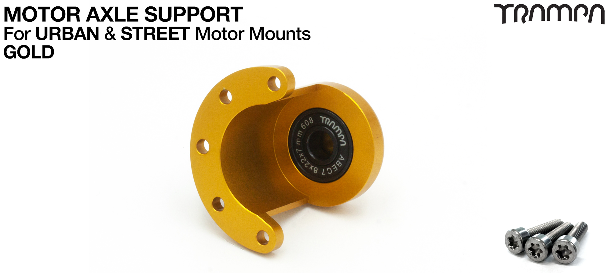 Motor Axle Support Housing with TRAMPA R608 8x22x7mm Bearing, C-Clip & Stainless Steel fixing Bolts for ORRSOM Longboard Motor Mounts  - GOLD