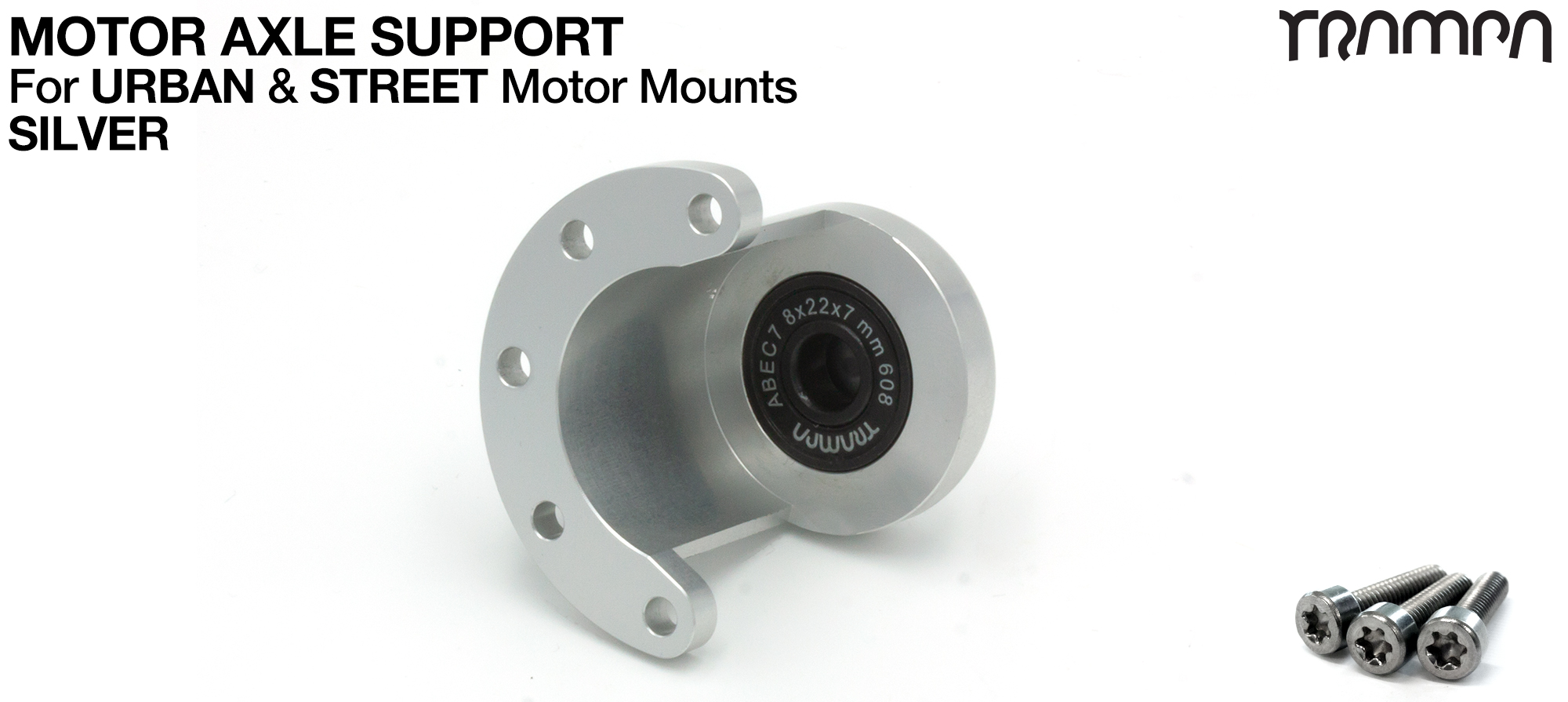 Motor Axle Support Housing with TRAMPA R608 8x22x7mm Bearing, C-Clip & Stainless Steel fixing Bolts for ORRSOM Longboard Motor Mounts  - SILVER
